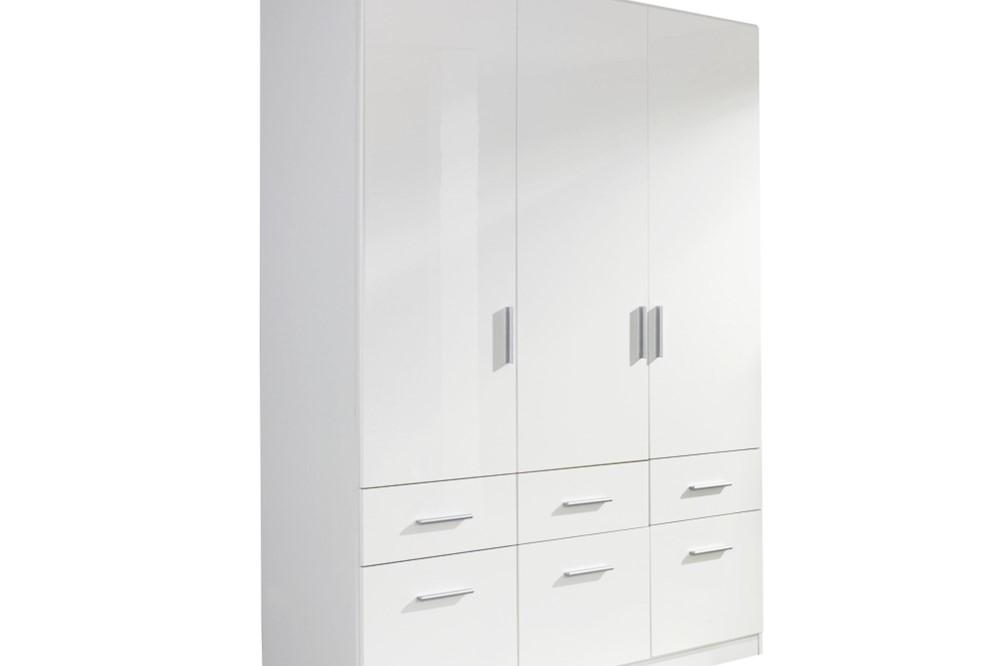 Drehtür-Kombischrank CELLE weiß / alpinweiß 136 x 197 x 54 cm