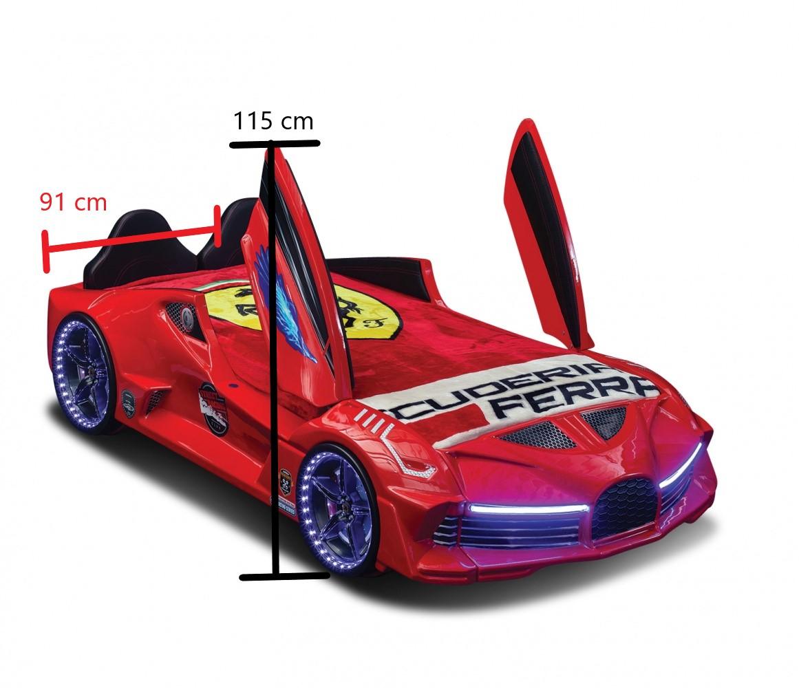 Autobett GT 999 AERO Rot mit Türen und Sportsitzen