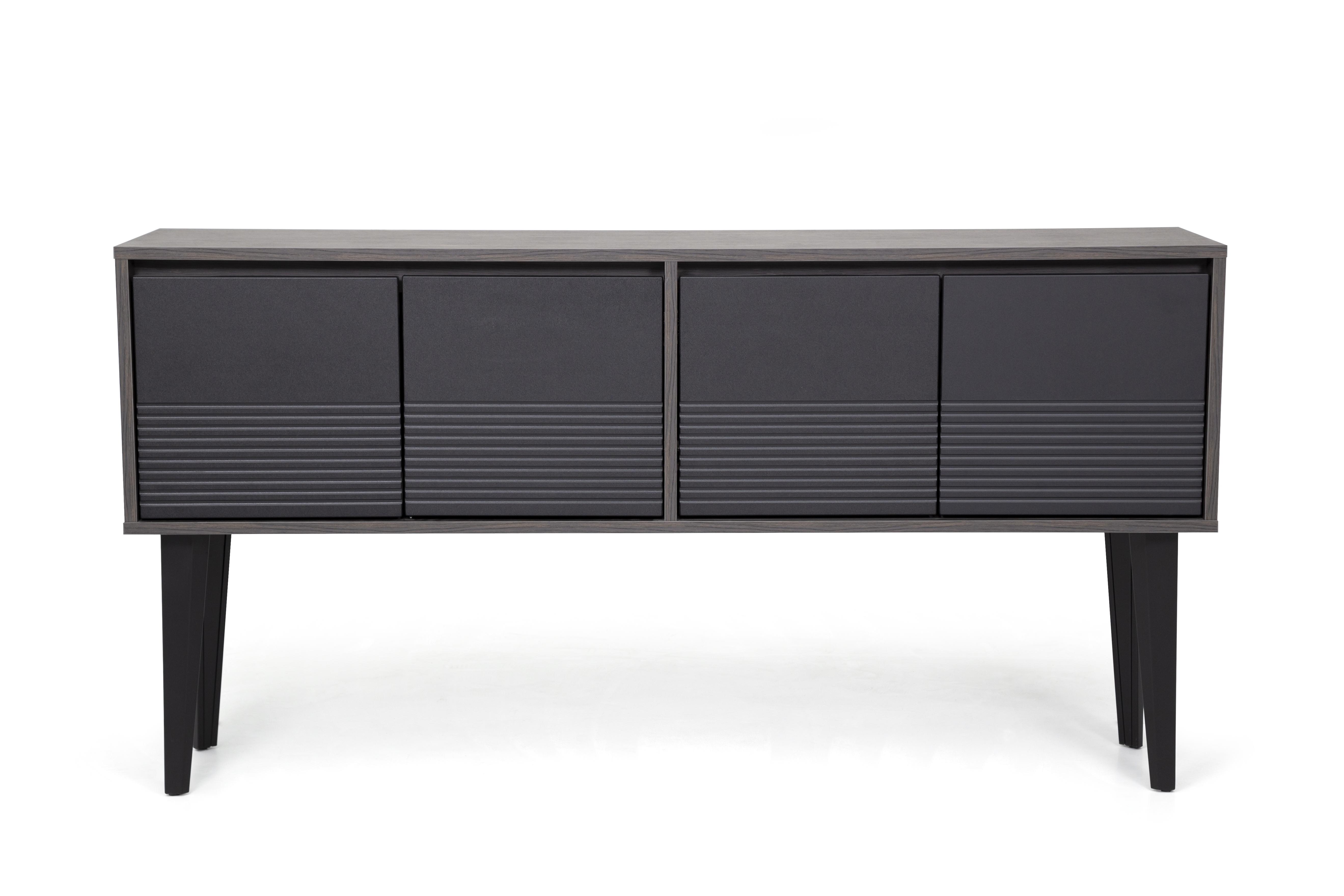 Ovali Sideboard 4-türig Snap Schwarz Holzoptik