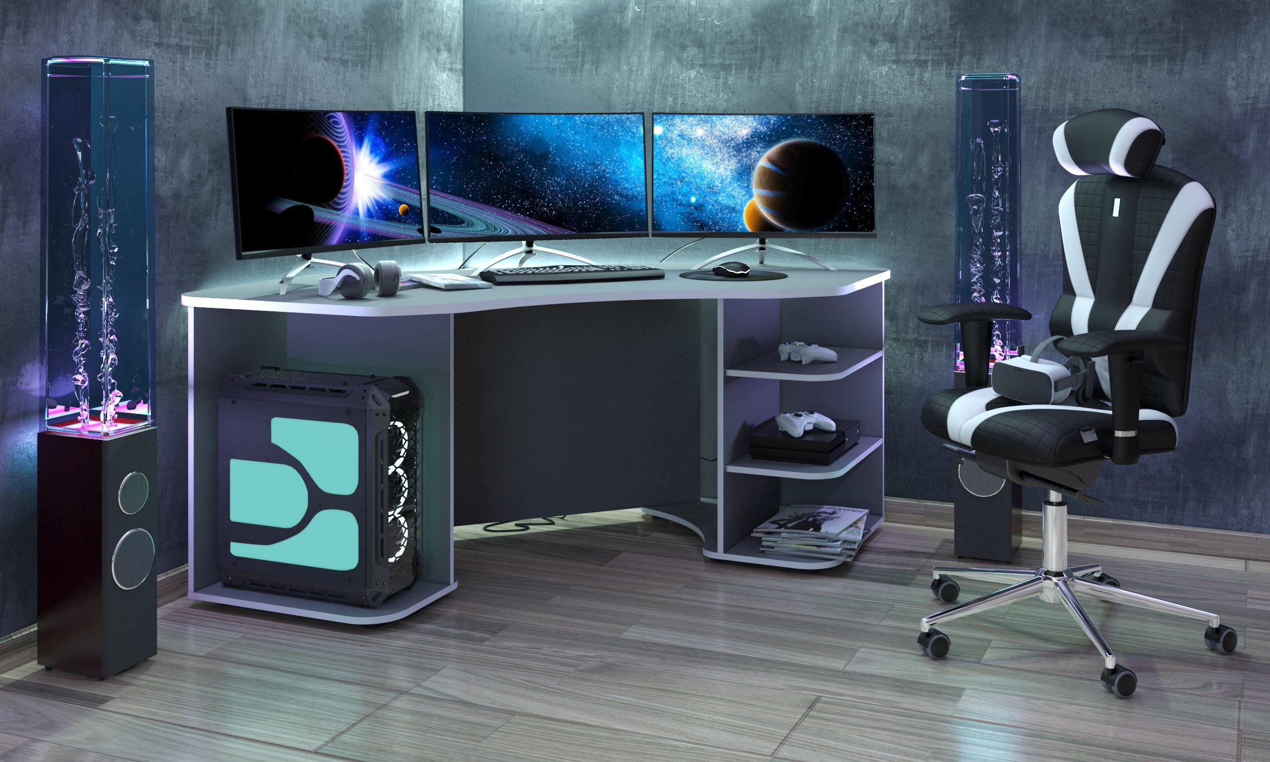 Gaming Tisch Xeno in Anthrazit Weiß