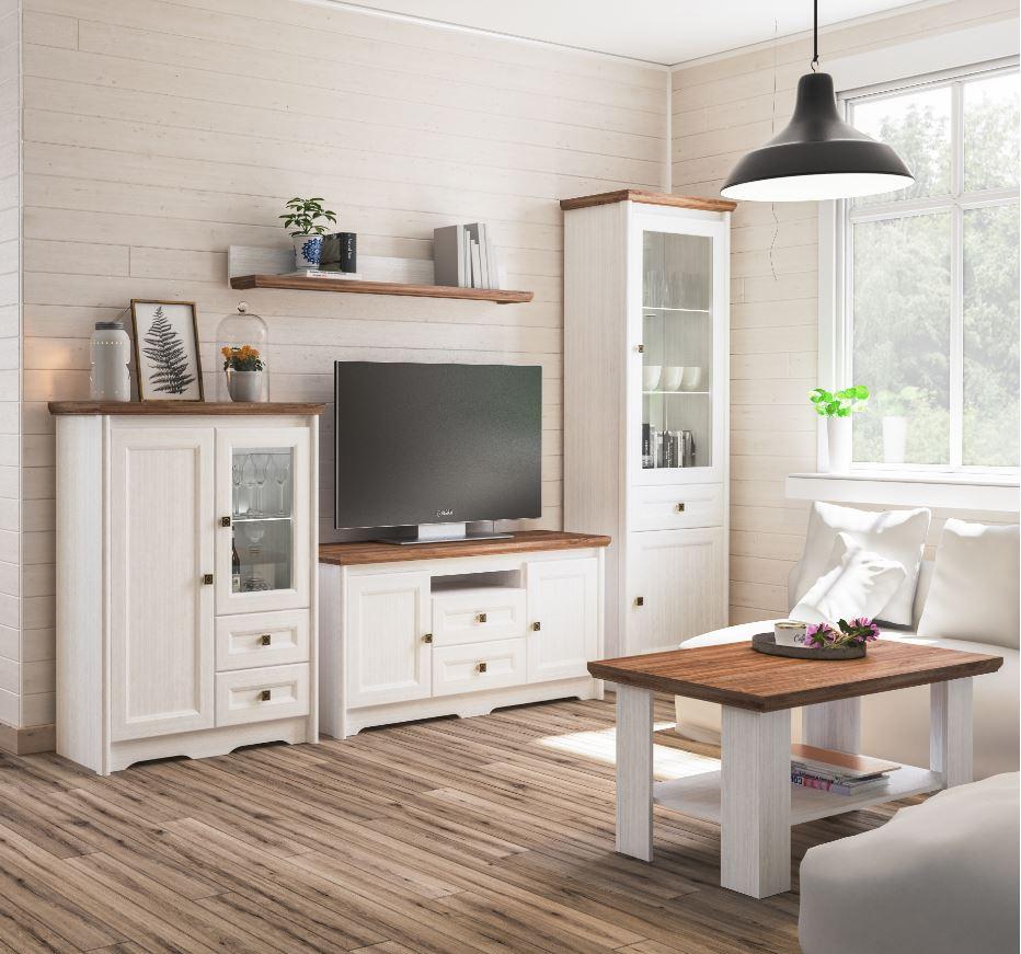 Neman Wohnzimmer 4-teilig Tivoli Landhausstil Weiß