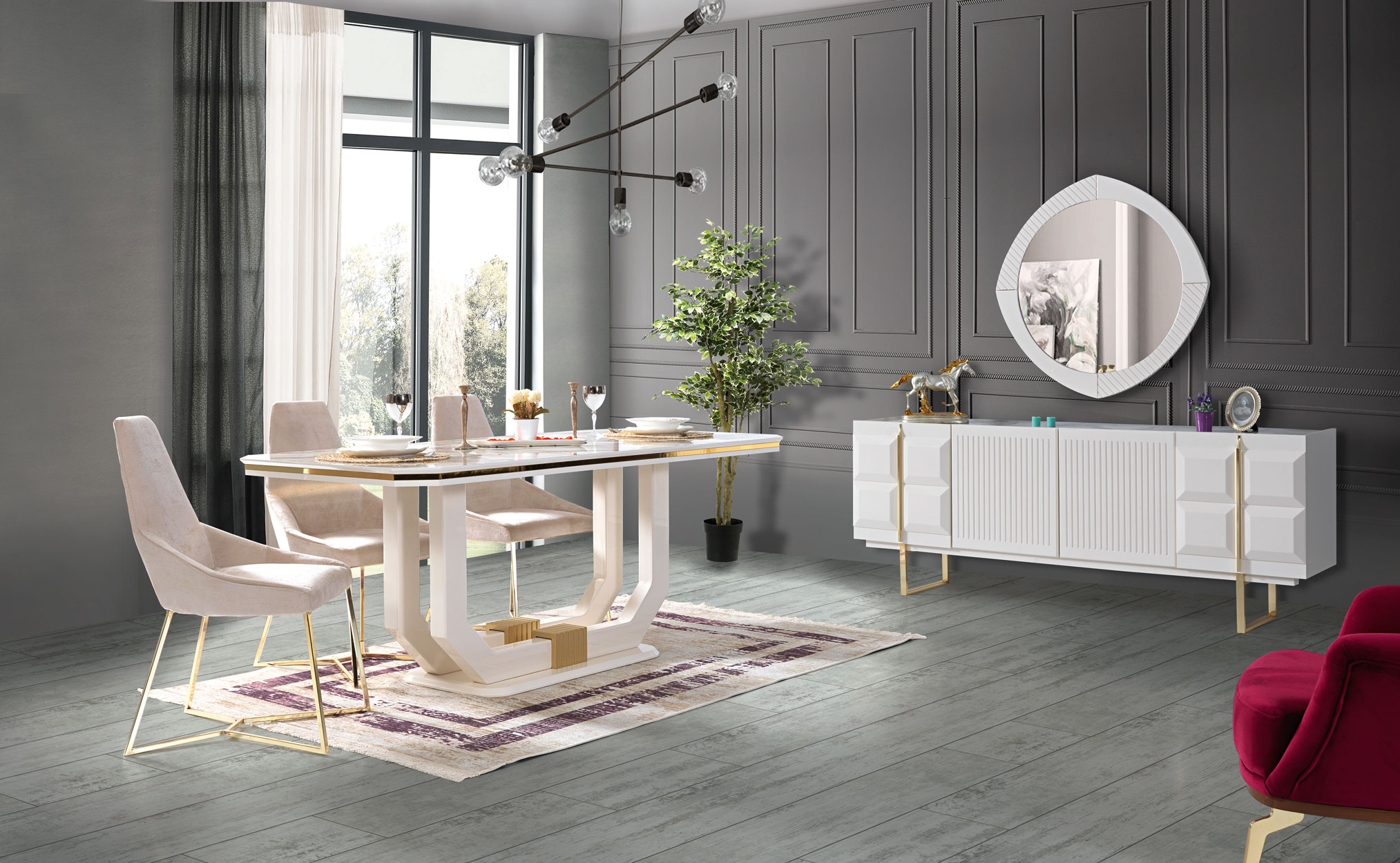 Lidya Esszimmer komplett Pianno mit 4 Stühlen in Weiß