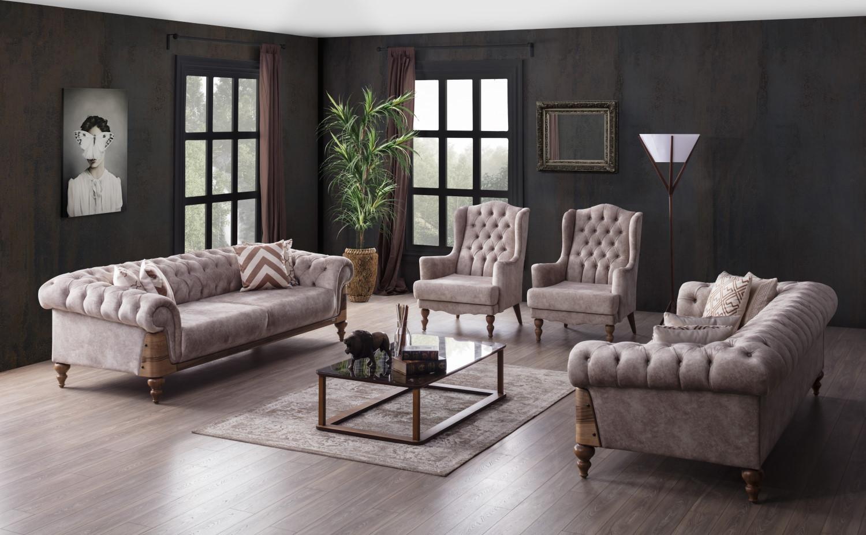 Weltew Couch Set Vital 4-teilig mit Sessel Beige