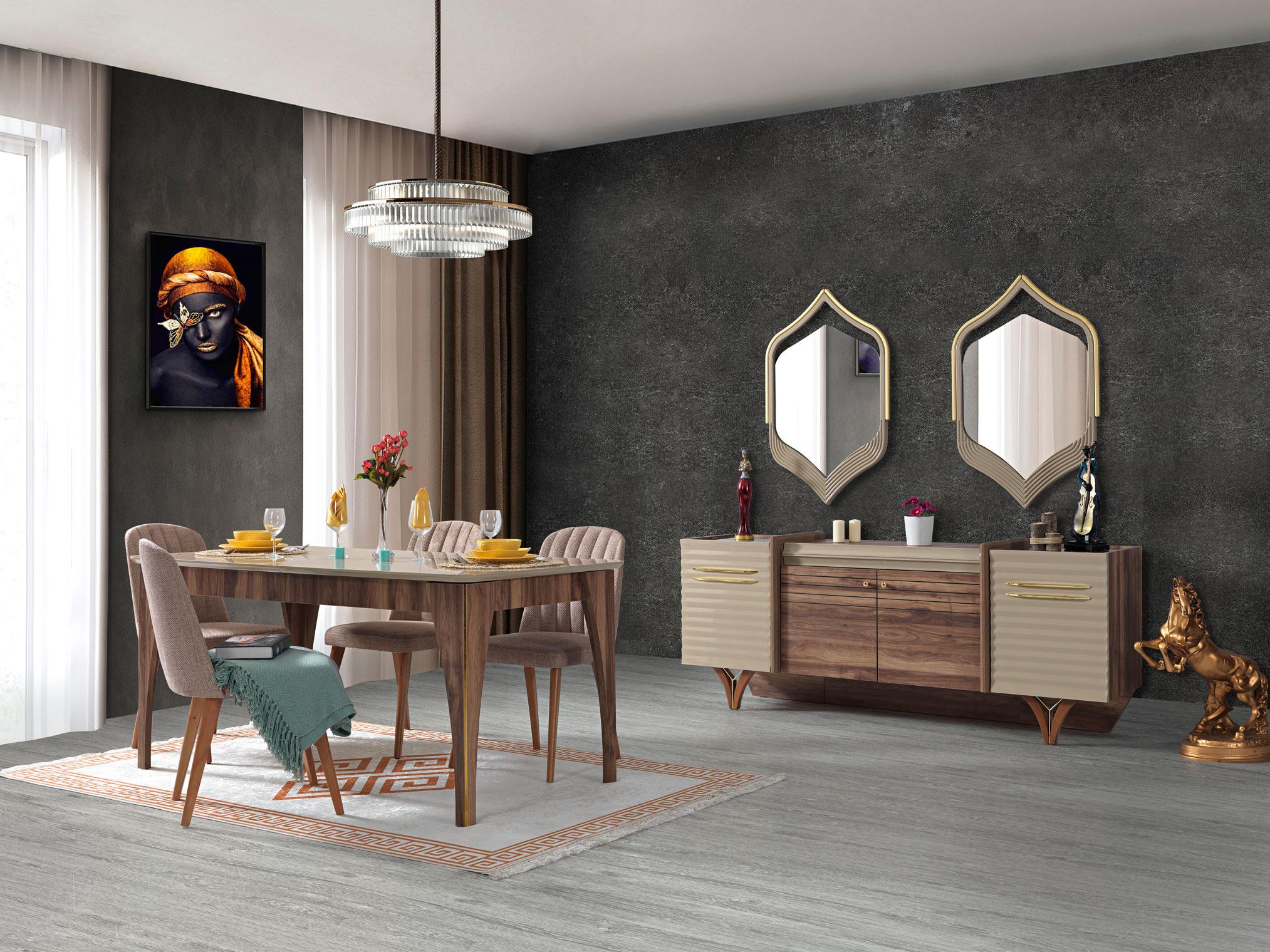 Lidya Esszimmer Set Tower mit Ausziehtisch & Sideboard