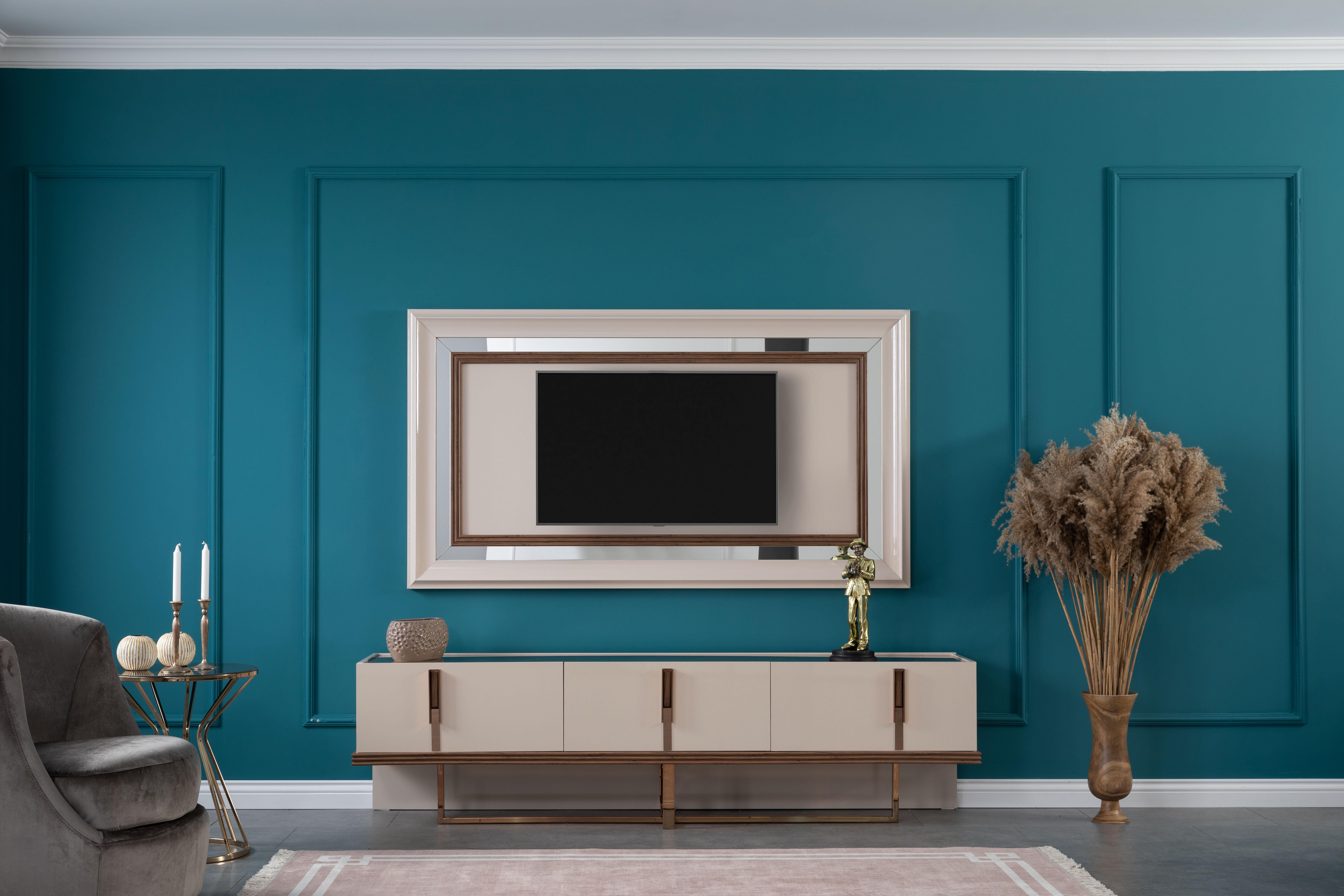 Lidya TV-Wand mit Schubladen Lucca Creme Bronze