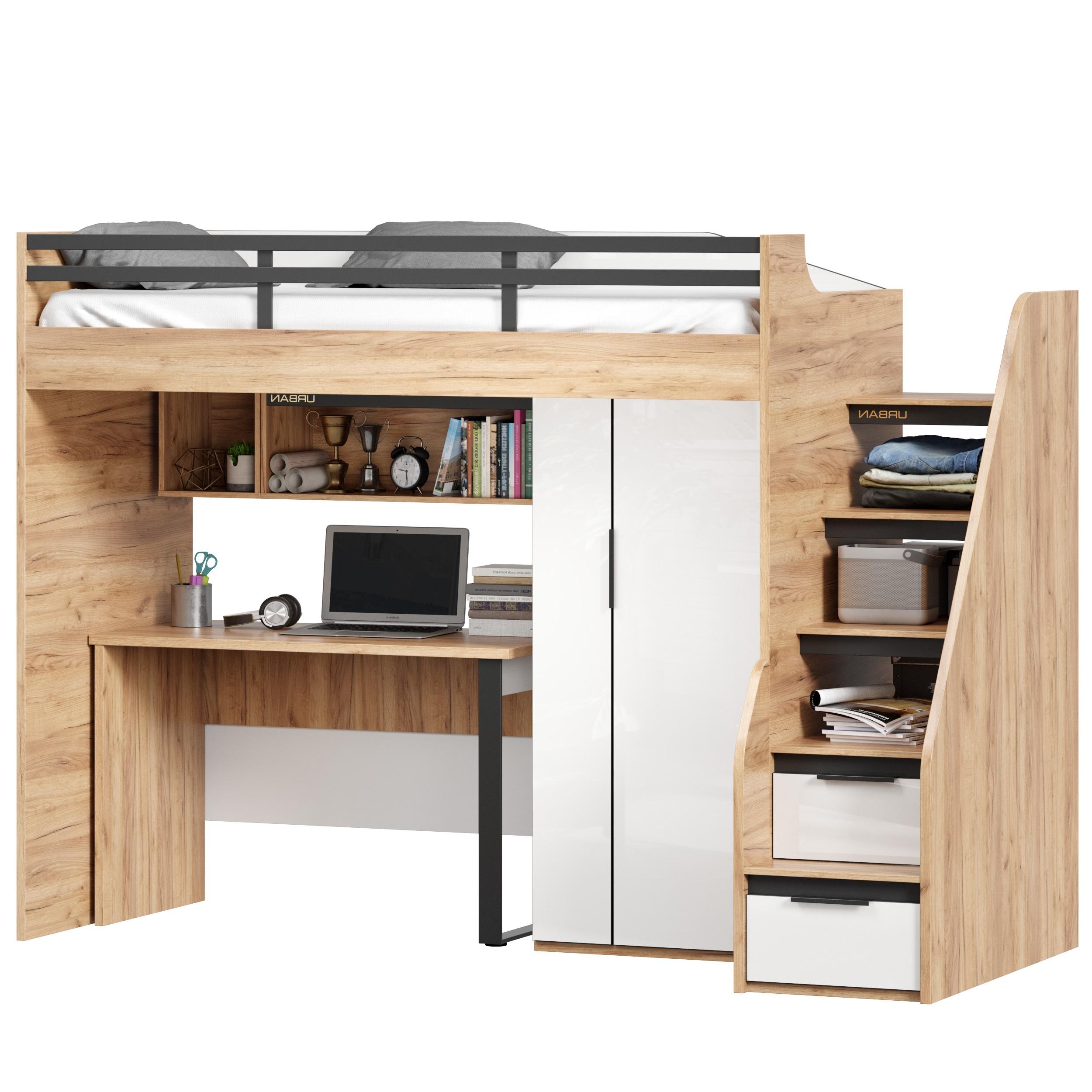Lubidom Hochbett Urban mit Schreibtisch Rechts