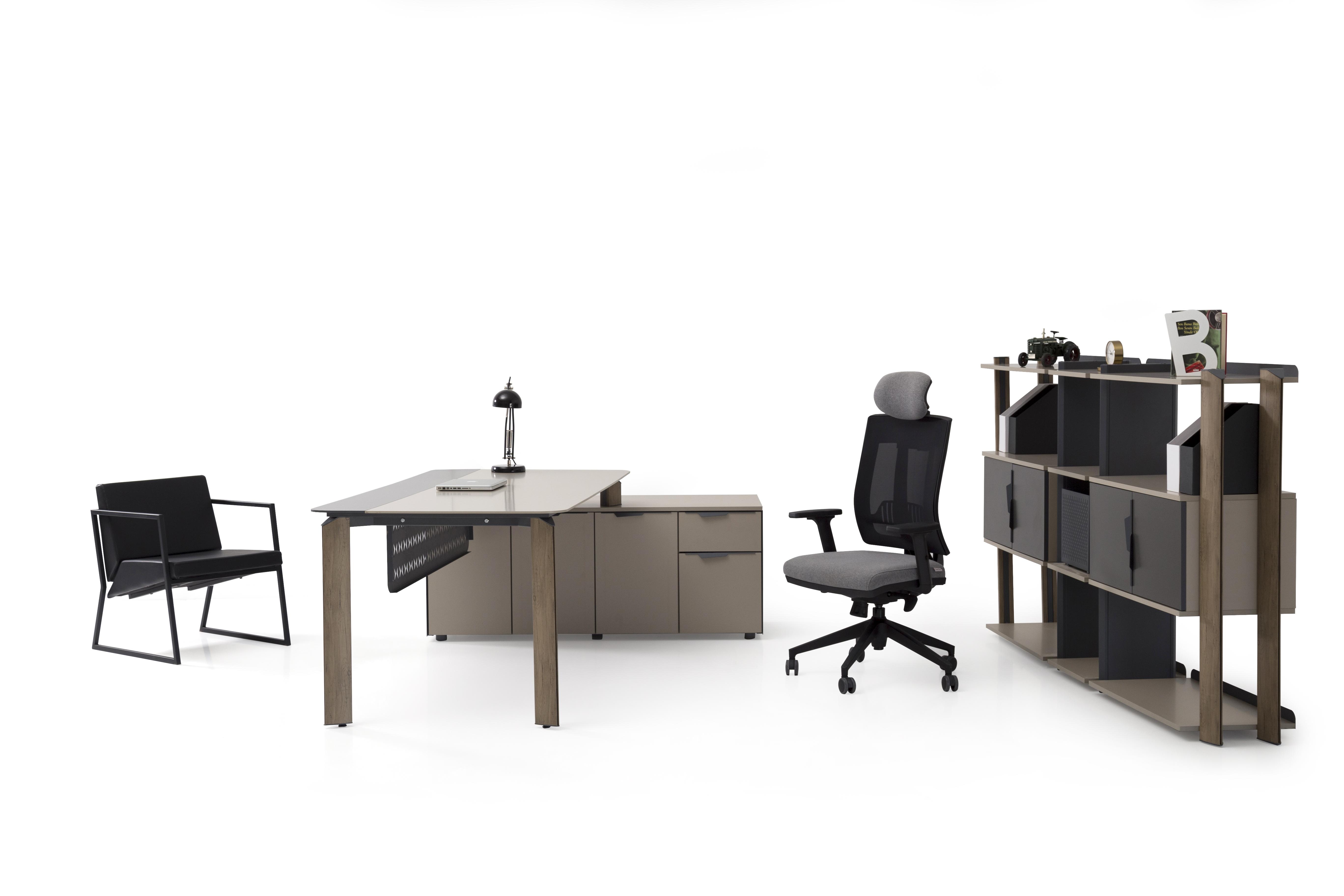 Ovali Schreibtisch Set 3-teilig Twist L2 Beige 180x90 cm