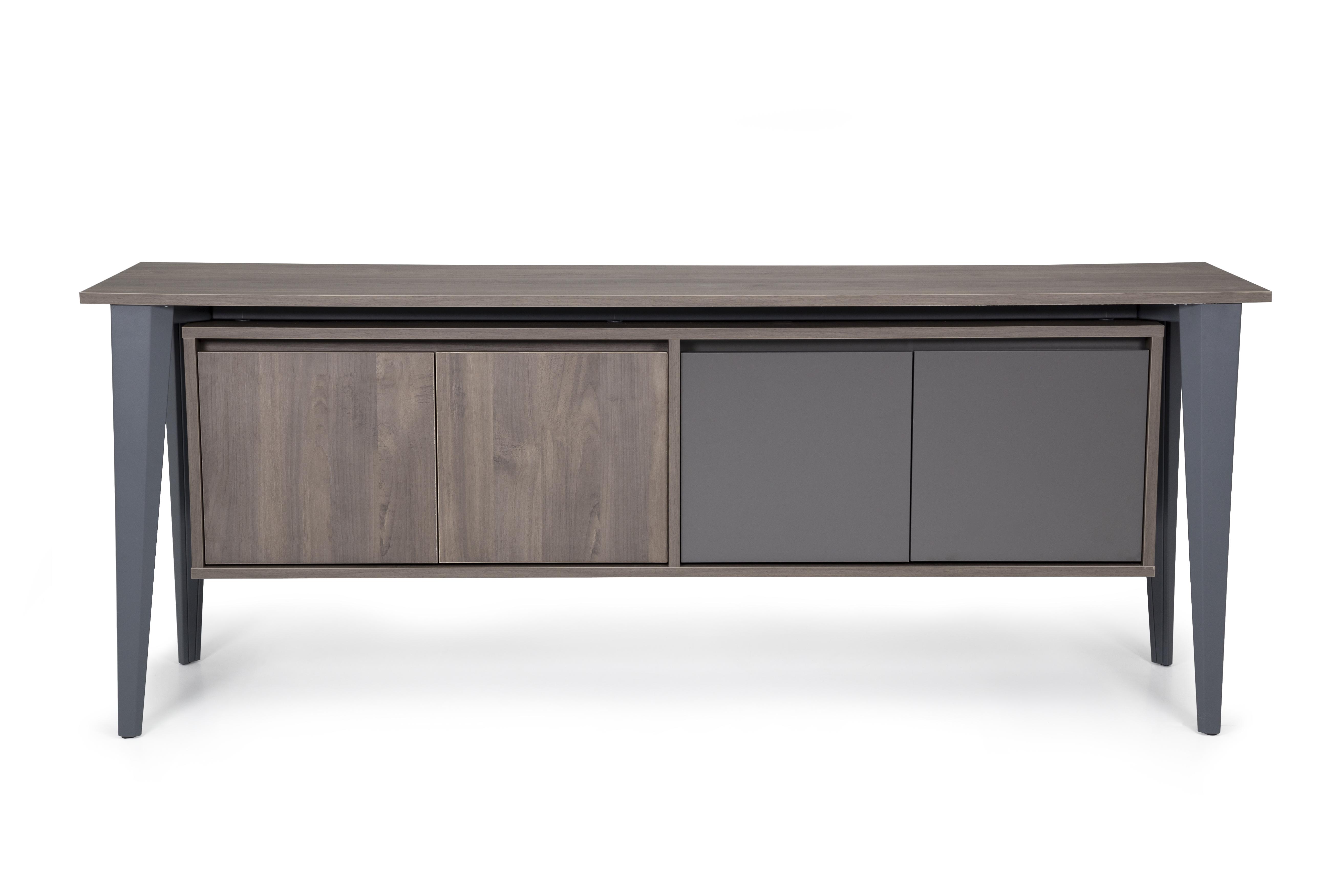 Ovali Sideboard 4-türig Iconlux Holzoptik Anthrazit