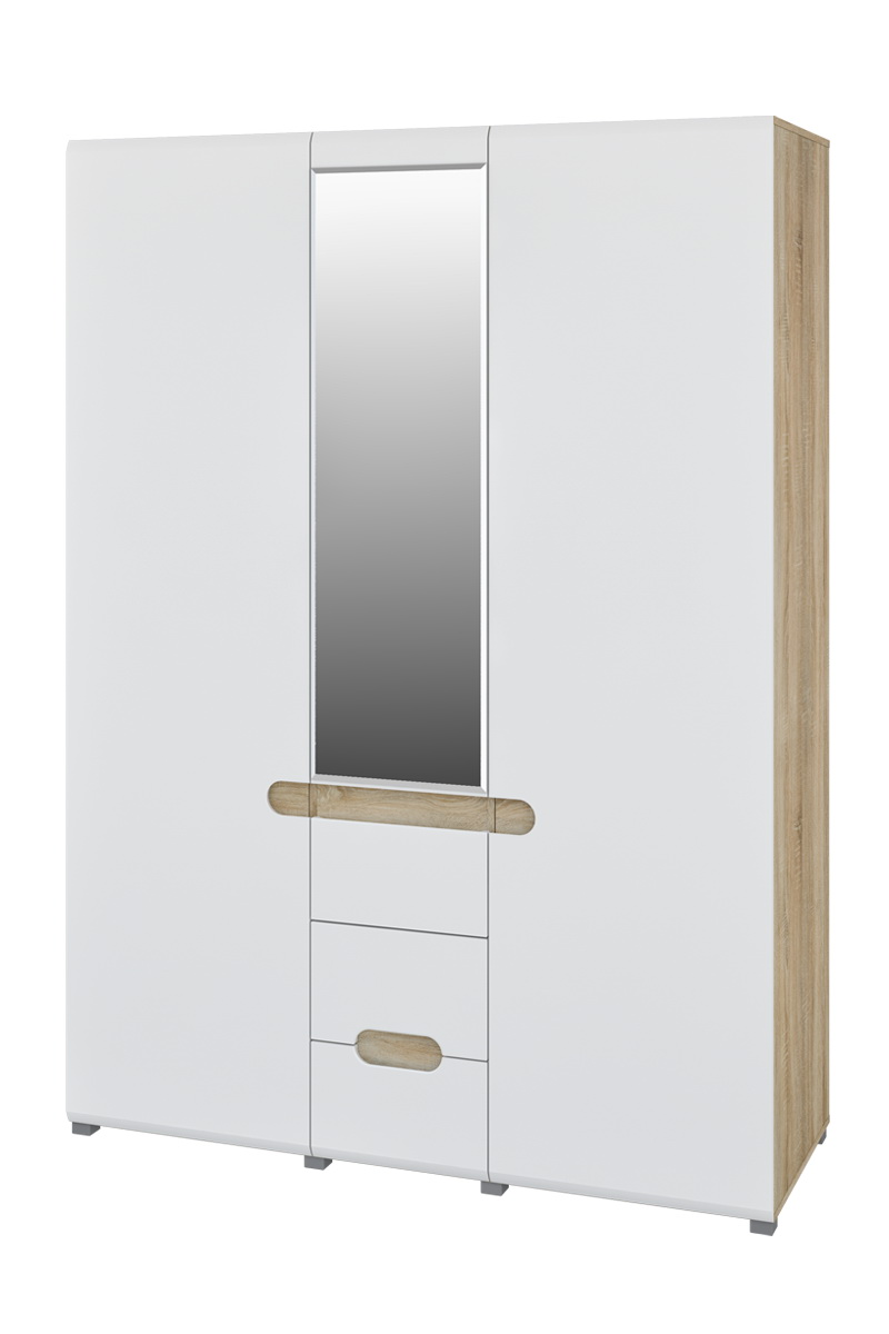 Kleiderschrank mit Spiegel 3-türig Weiß Leonardo