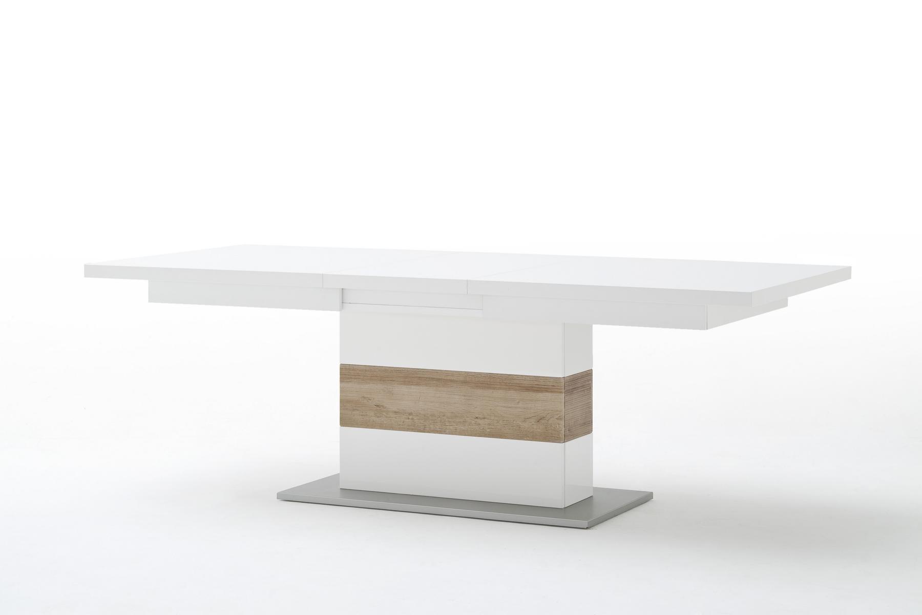 Pala Esszimmertisch 180(230)x100 Weiß mit Riviera Eiche