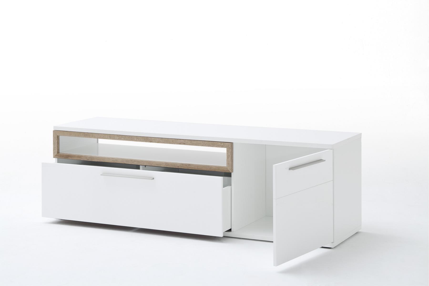 Pala Wohnwand 3-teilig Weiß mit Riviera Eiche