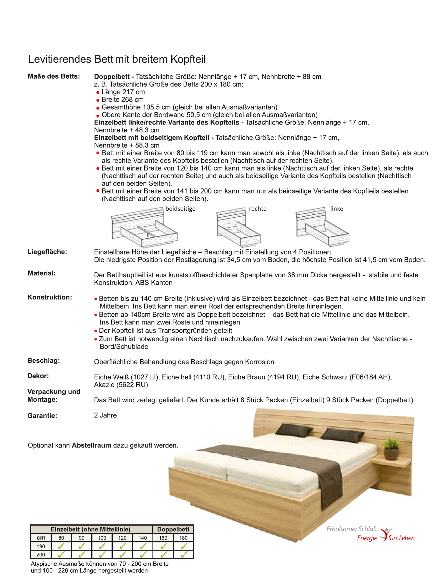 Schwebendes Bett Rielle 120x190 Akazie Rechts