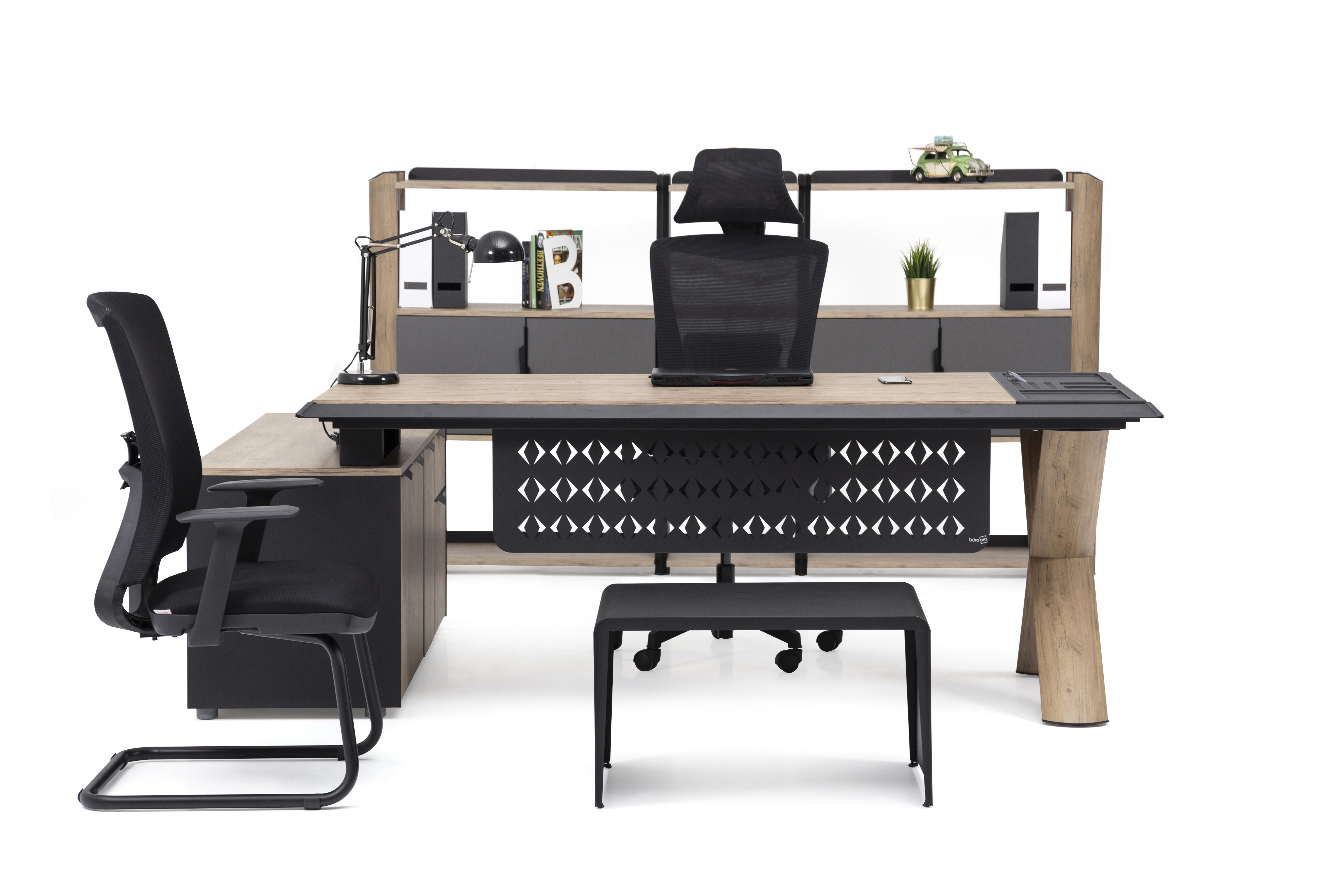 Ovali Büromöbel komplett 4-teilig Vinil 180x90 cm