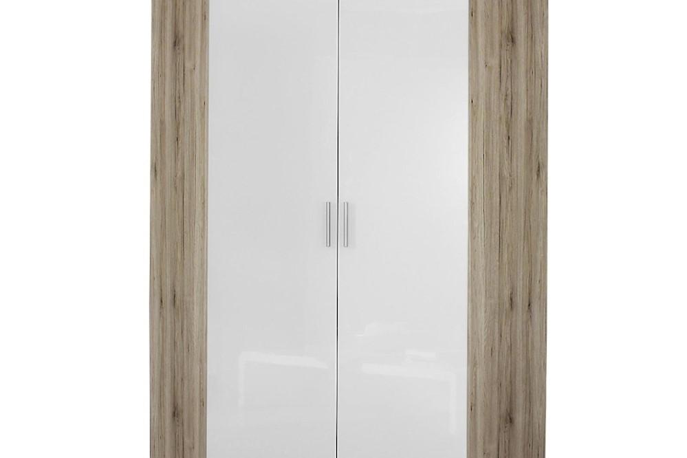 Eckschrank CELLE weiß / Eiche Sanremo 117 x 210 x 117 cm