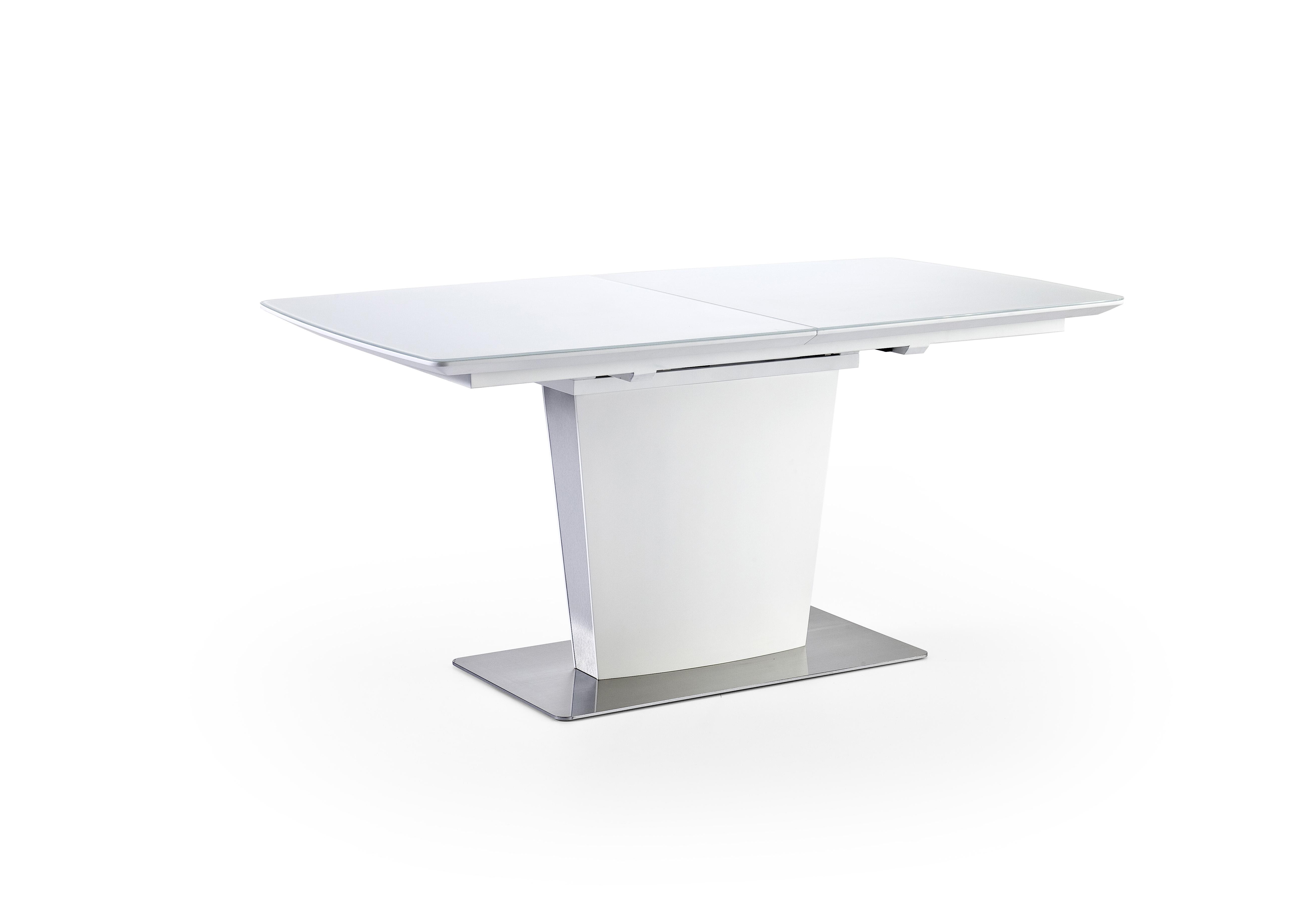 Hano Esstisch 160x90 Ausziehbar Weiß Matt mit Glas