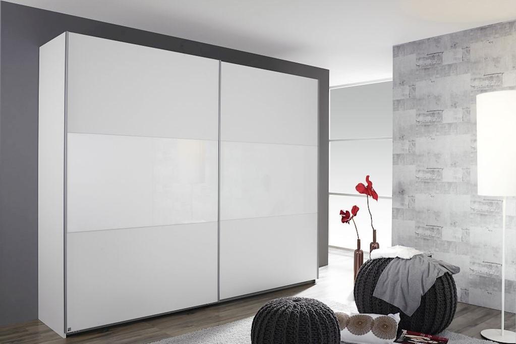Schwebetürenschrank LORIGA Breite 218 cm alpinweiß / weiß