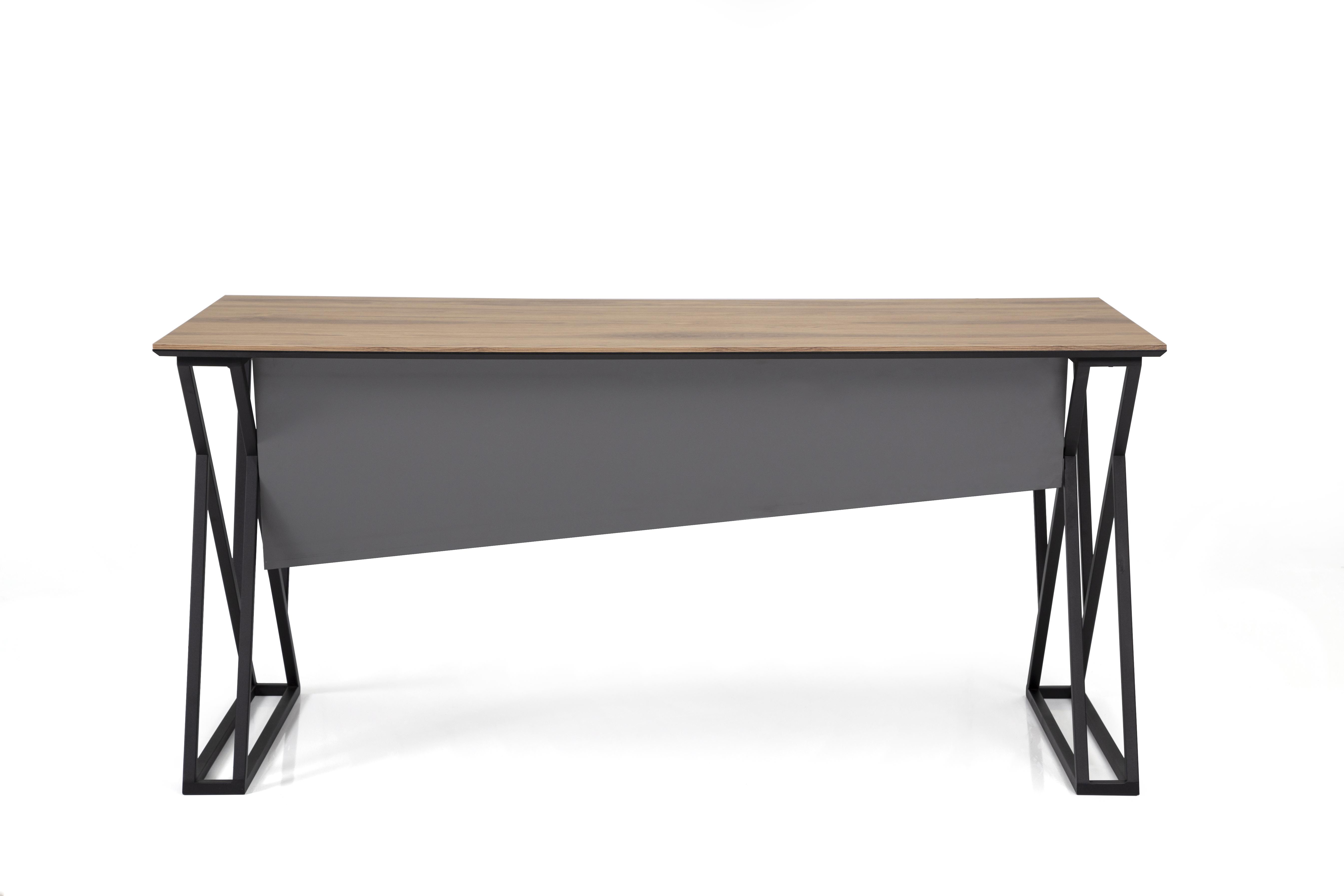 Ovali Schreibtisch 2-beinig Buton Schwarz 180x80x75