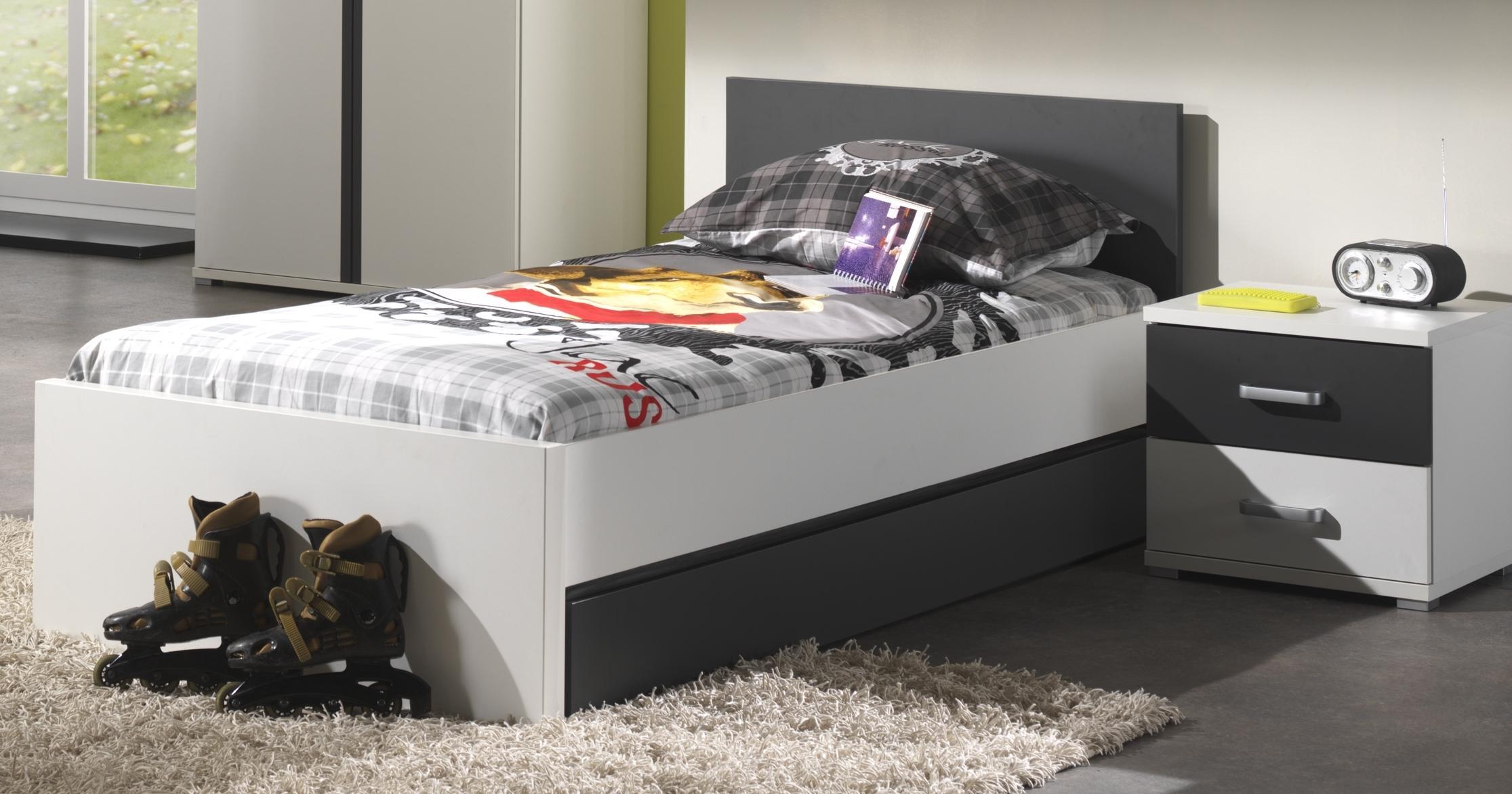 Jugendzimmer komplett Set Linde 6-teilig in Weiß-Anthrazit