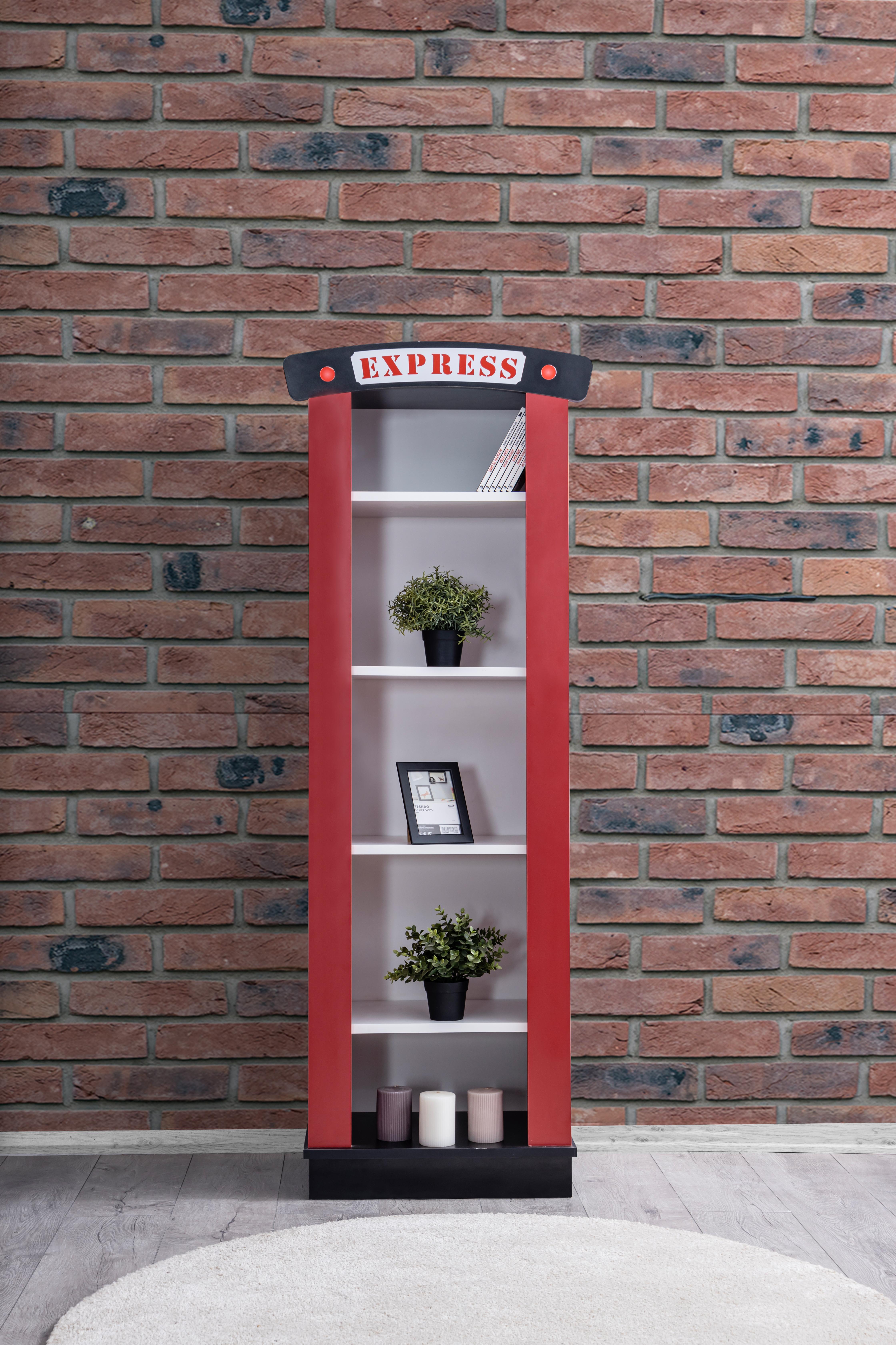 Odacix Kinderzimmer Bücherregal Express in Rot & Schwarz