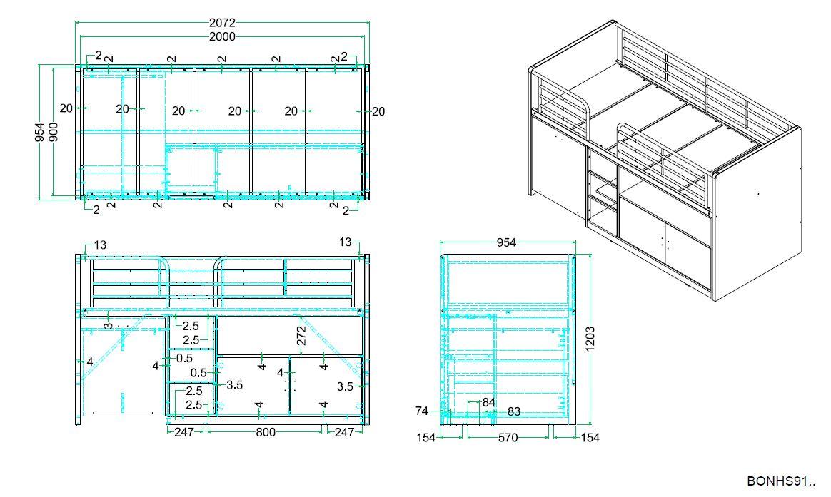 Bonny Hochbett 90x200 mit Schreibtisch Blau