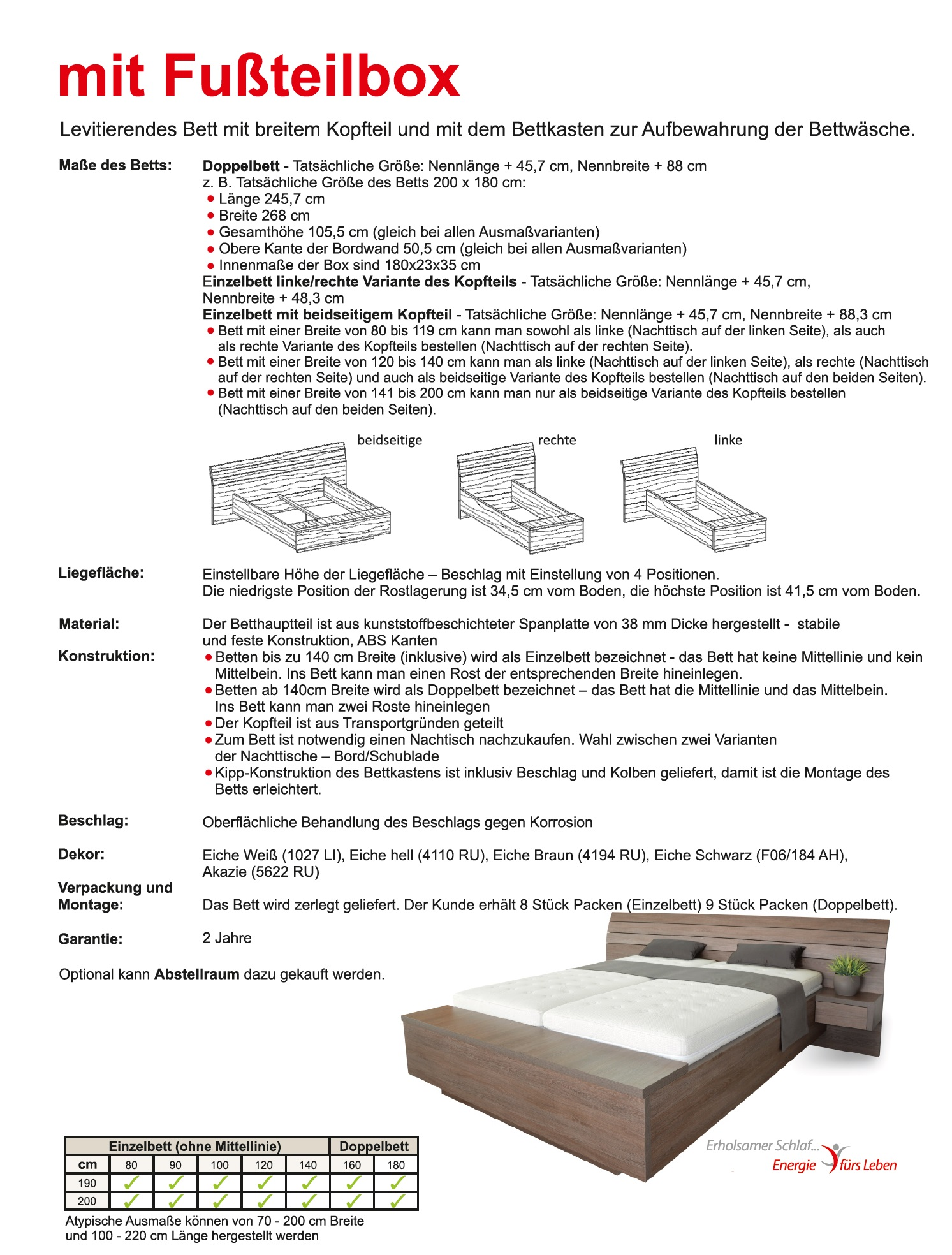 Schwebendes Bett Rielle B Akazie 100x190 Rechts