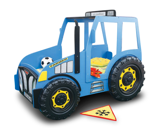 Traktorbett in Blau inklusive Matratze und Rost