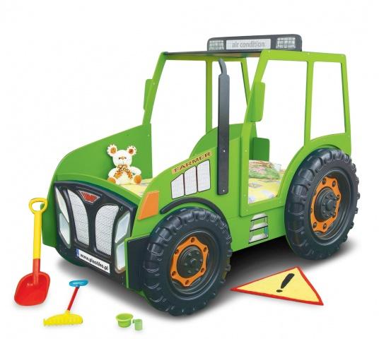 Traktorbett in Grün inklusive Matratze und Rost