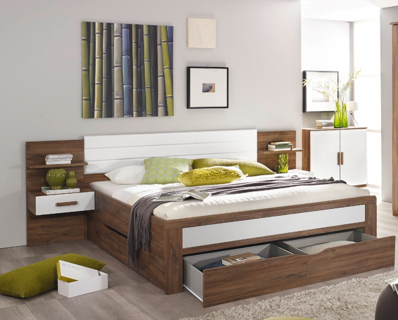 Bettanlage Bernau mit drei Bettschubkästen 180x200