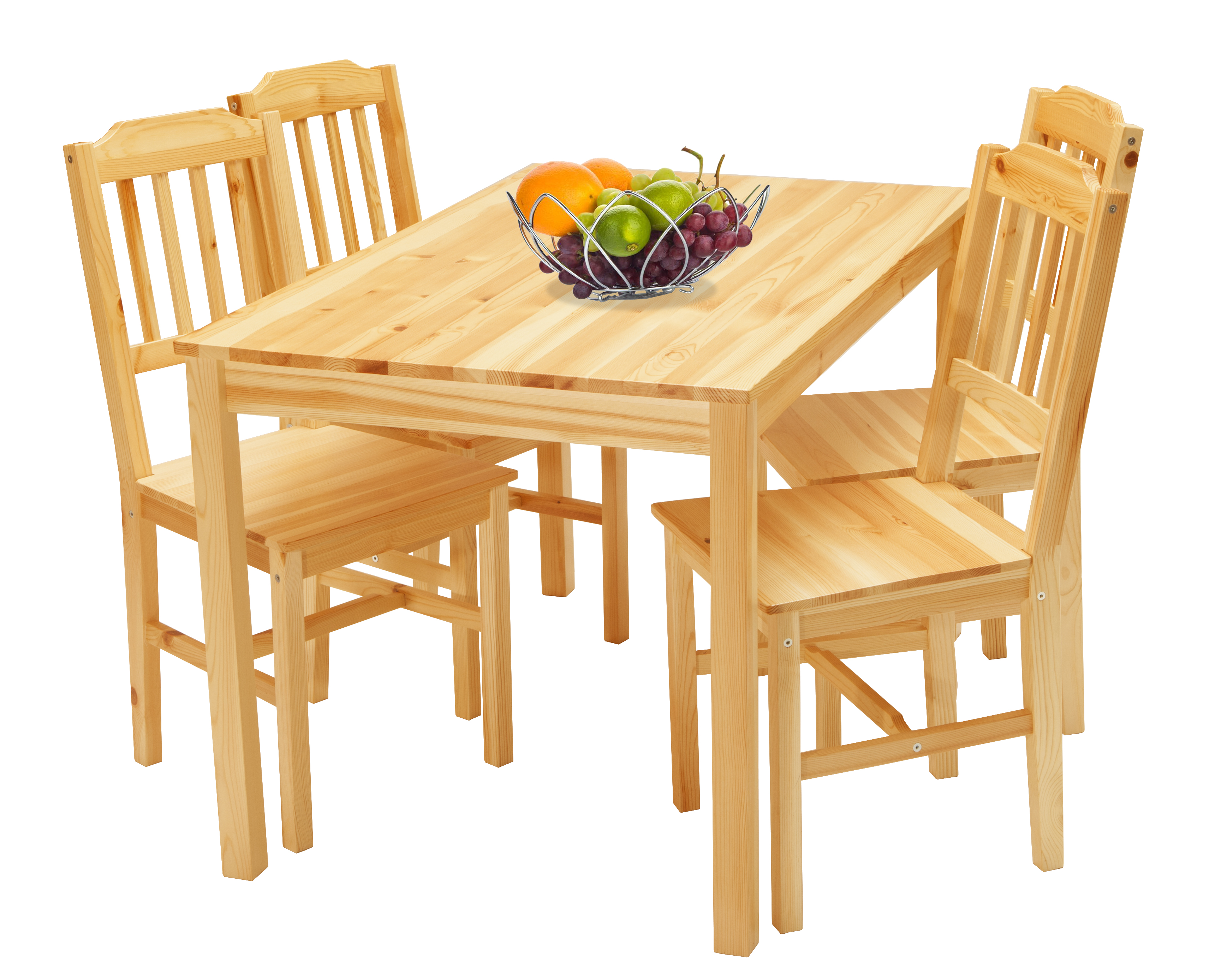 Julians Tischgruppe 118x76 mit 4 Stühlen