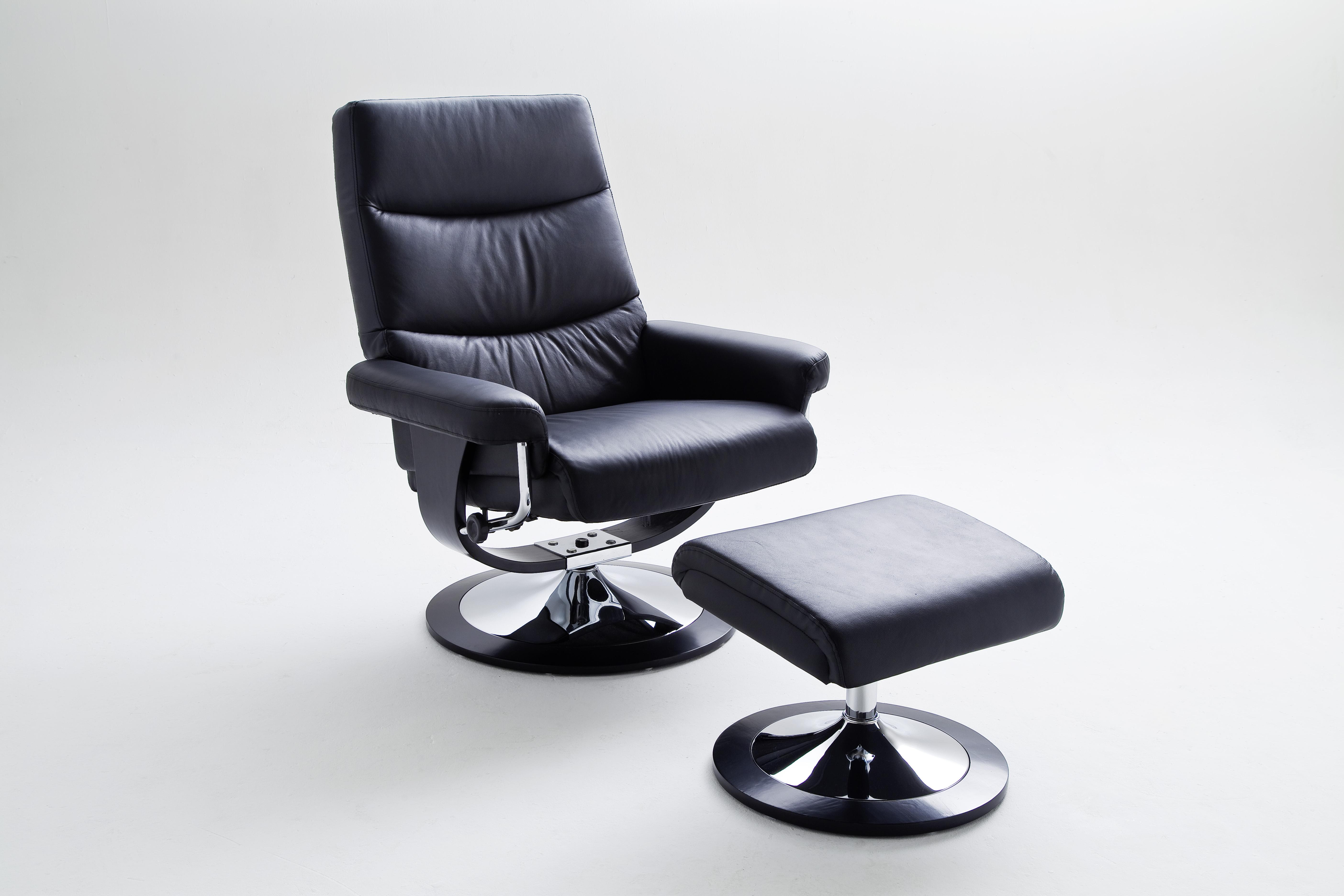 Cedy Relaxsessel mit Hocker Schwarz Leder und PVC