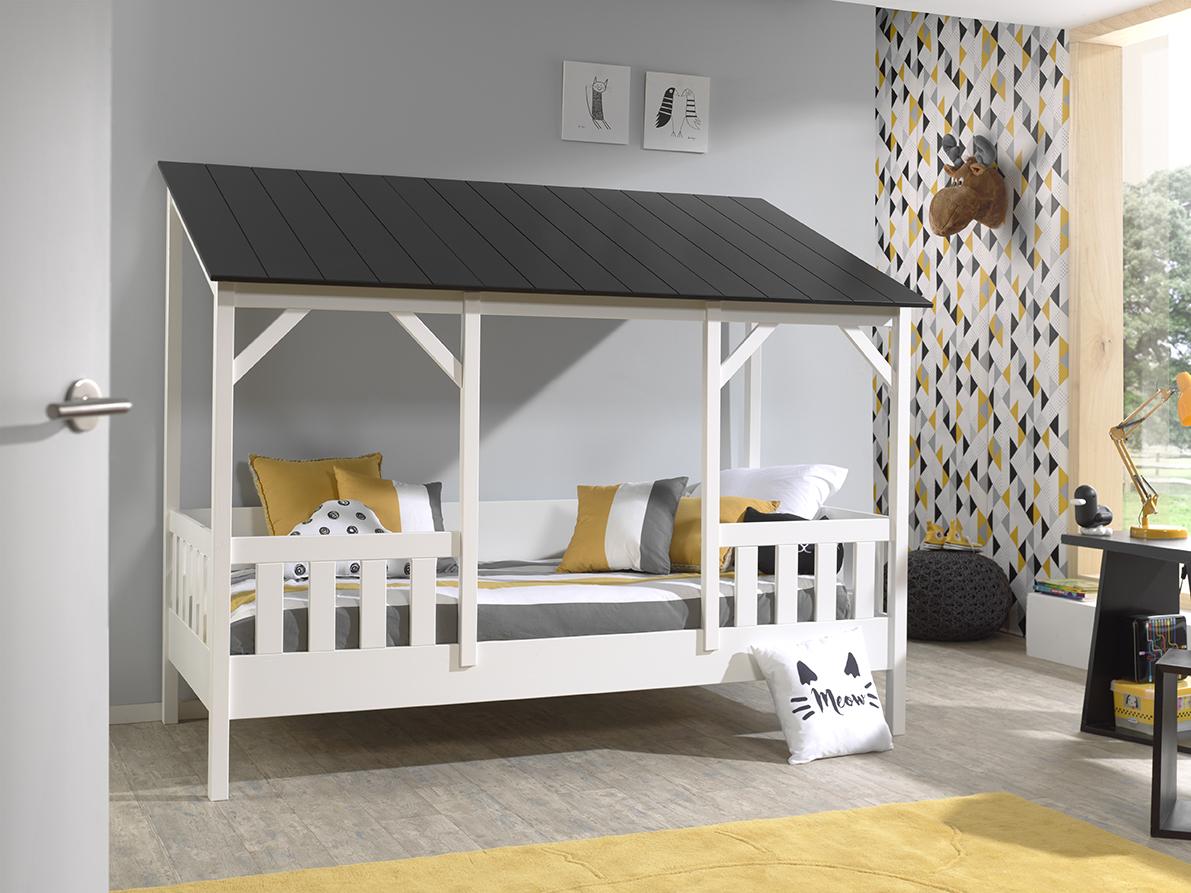 Spielbett Hausbett in Weiß Schwarz Bonni