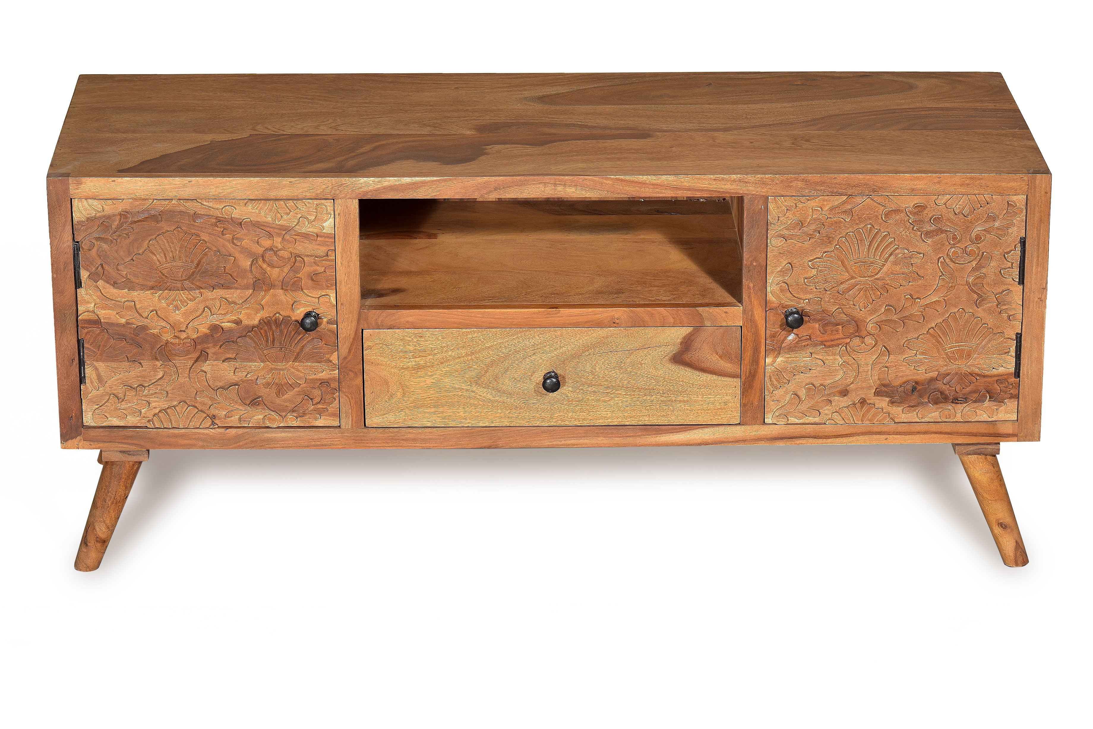 Sit TV Lowboard Carved Sheshamholz Natur