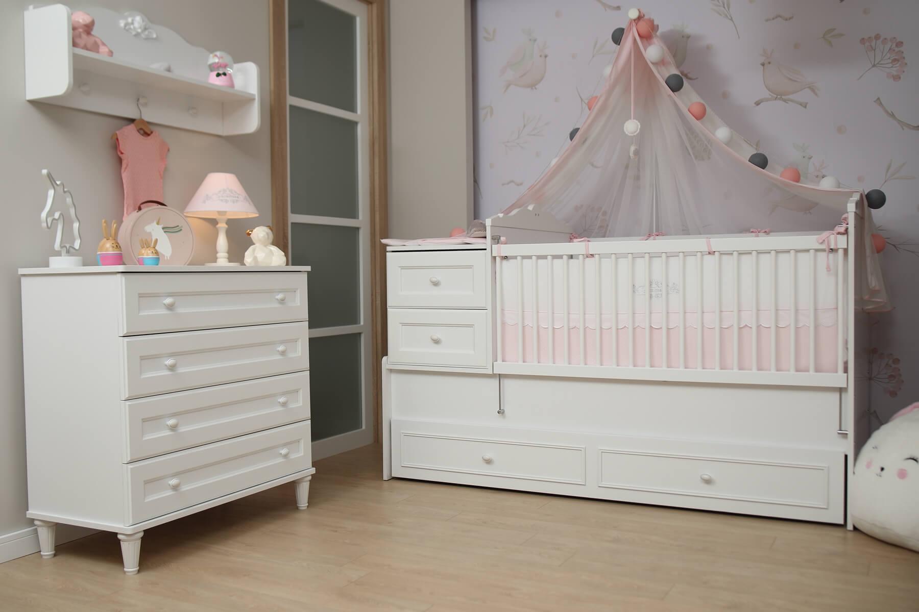 Almila Babyzimmer Set Lory 3-teilig in Weiß