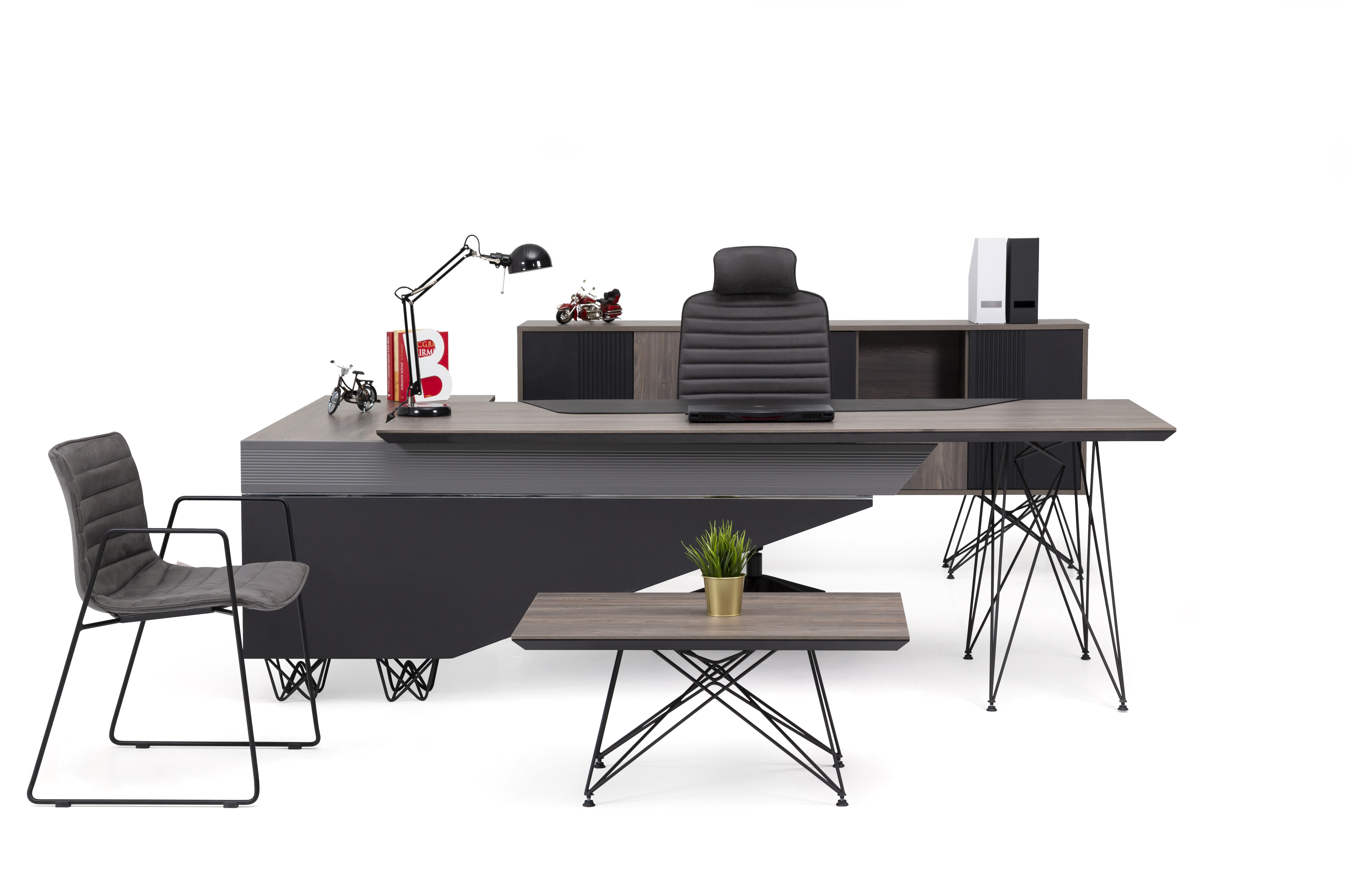 Ovali Büromöbel Set komplett 4-teilig Magnum Links