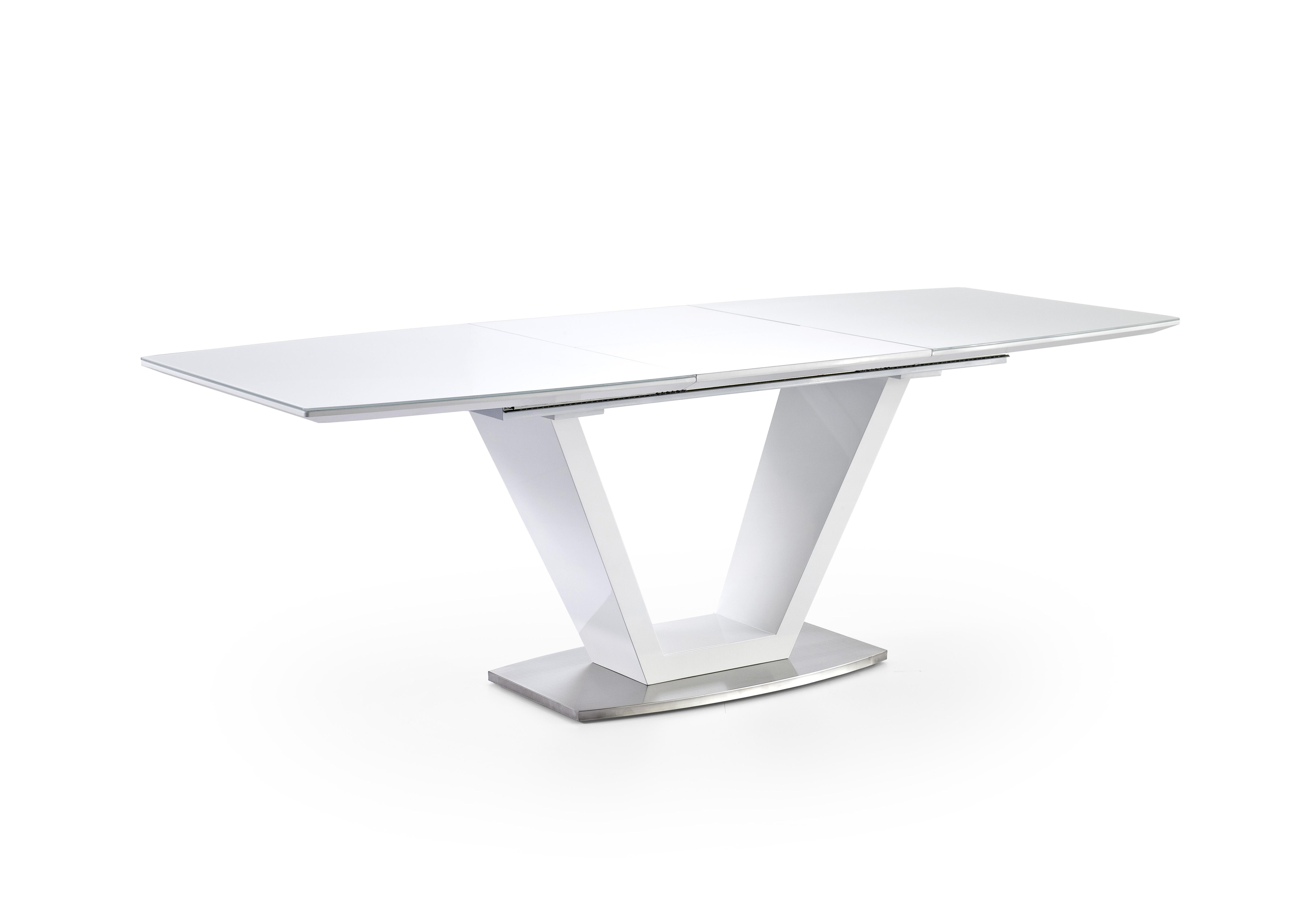 Mikol Esstisch 160x90 Ausziehbar Hochglanz Weiß