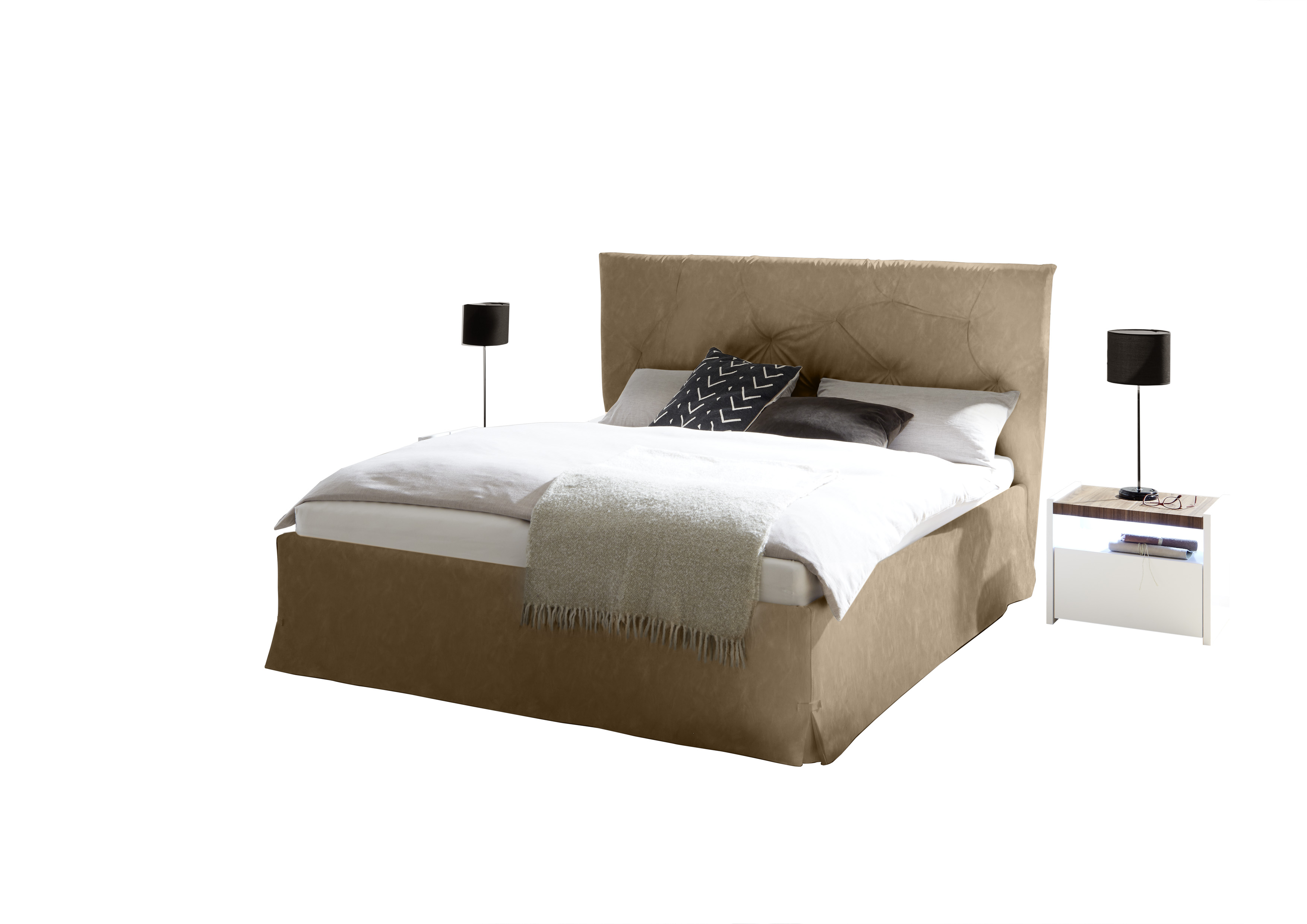 Modernes Bett Kunstleder Braun Luana Alpaca 160x200