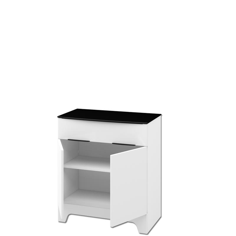 Wohnwand Verala 4-teilig in Weiß und Schwarz