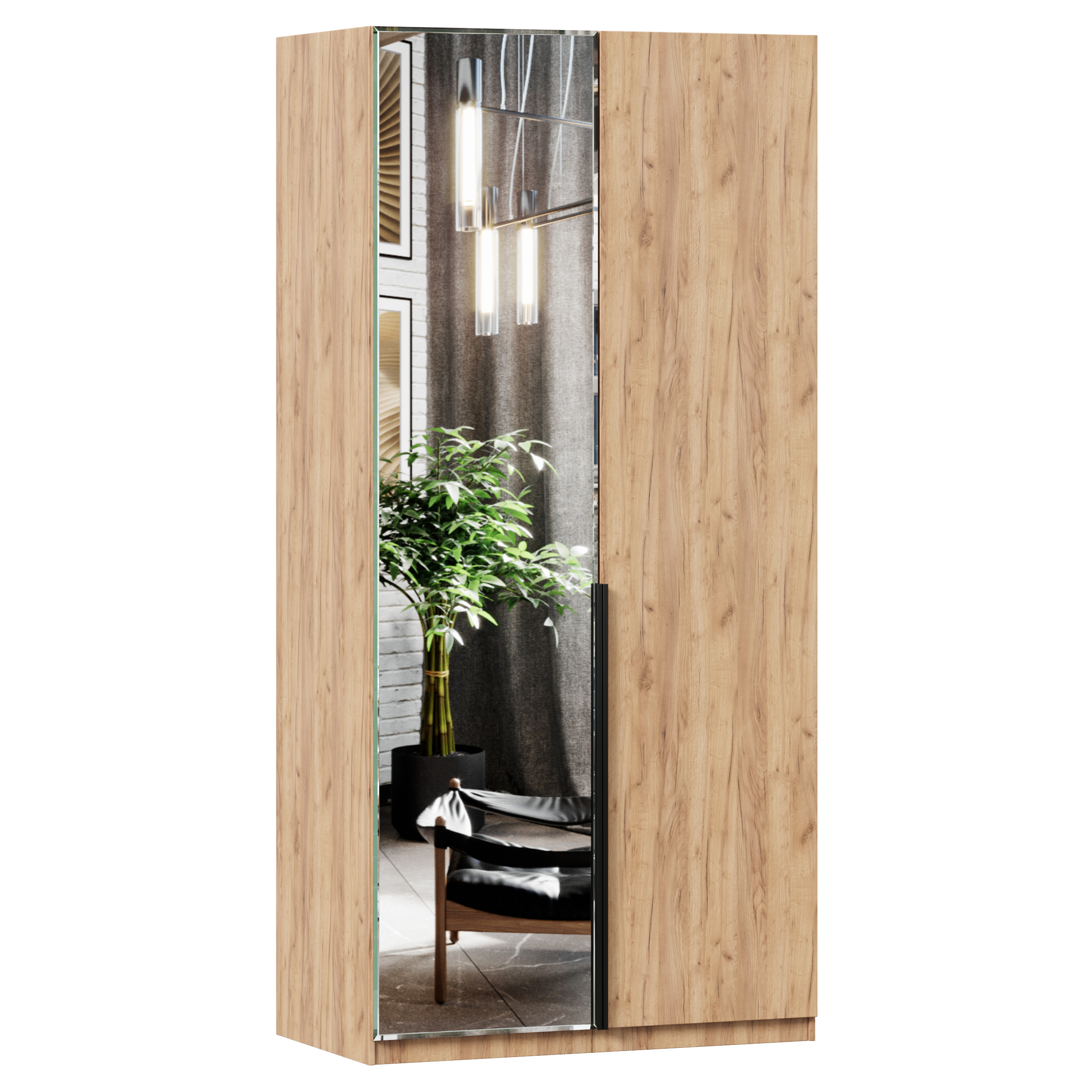 Lubidom Kleiderschrank Nord mit einseitiger Spiegeltür in Eiche