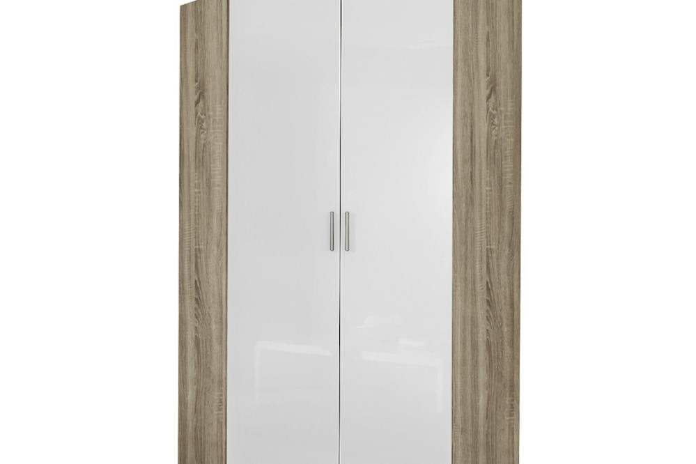 Eckschrank CELLE weiß / Eiche Sonoma 117 x 210 x 117 cm