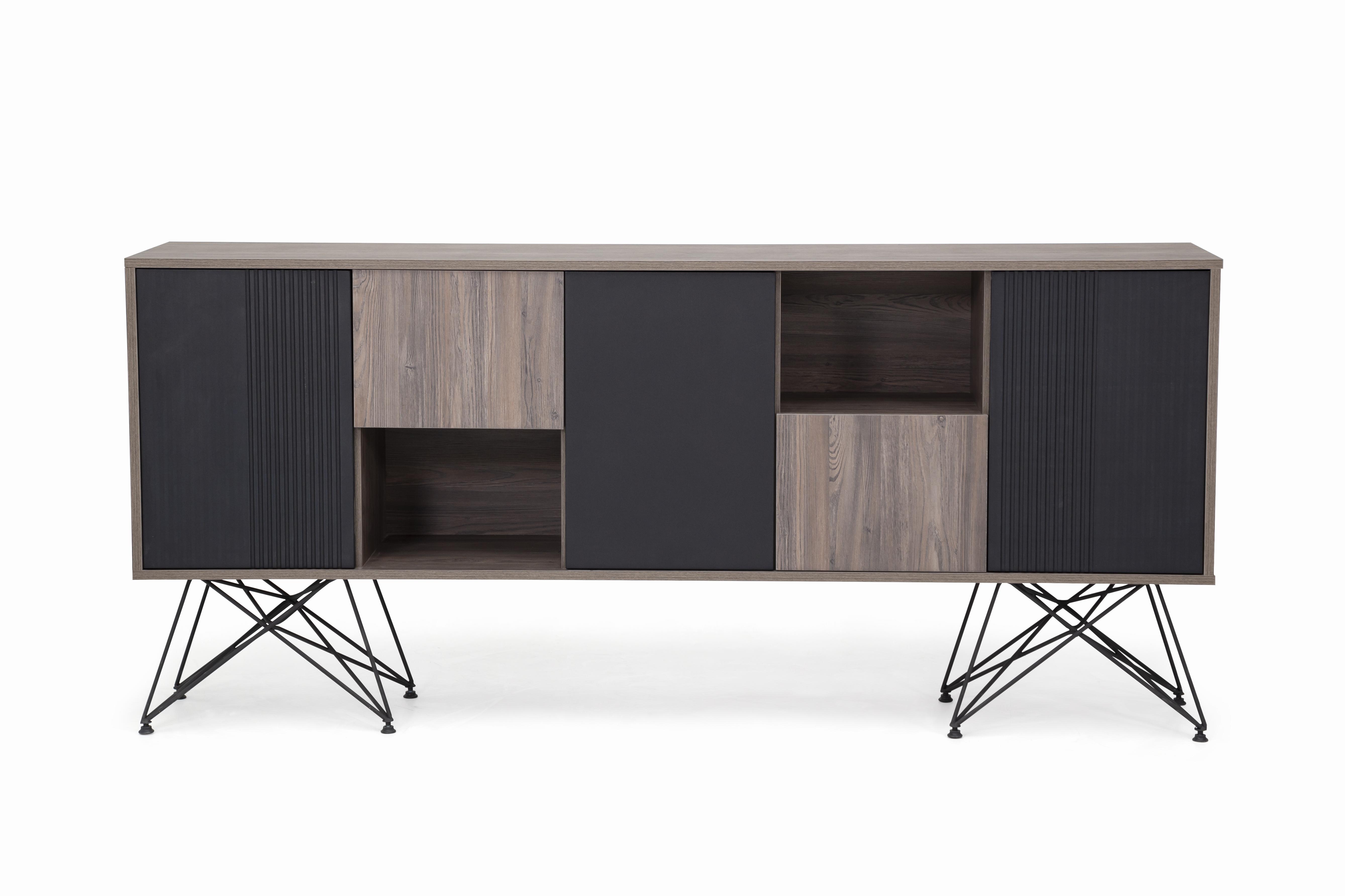 Ovali Sideboard 5- türig Magnum schwarz Holzoptik