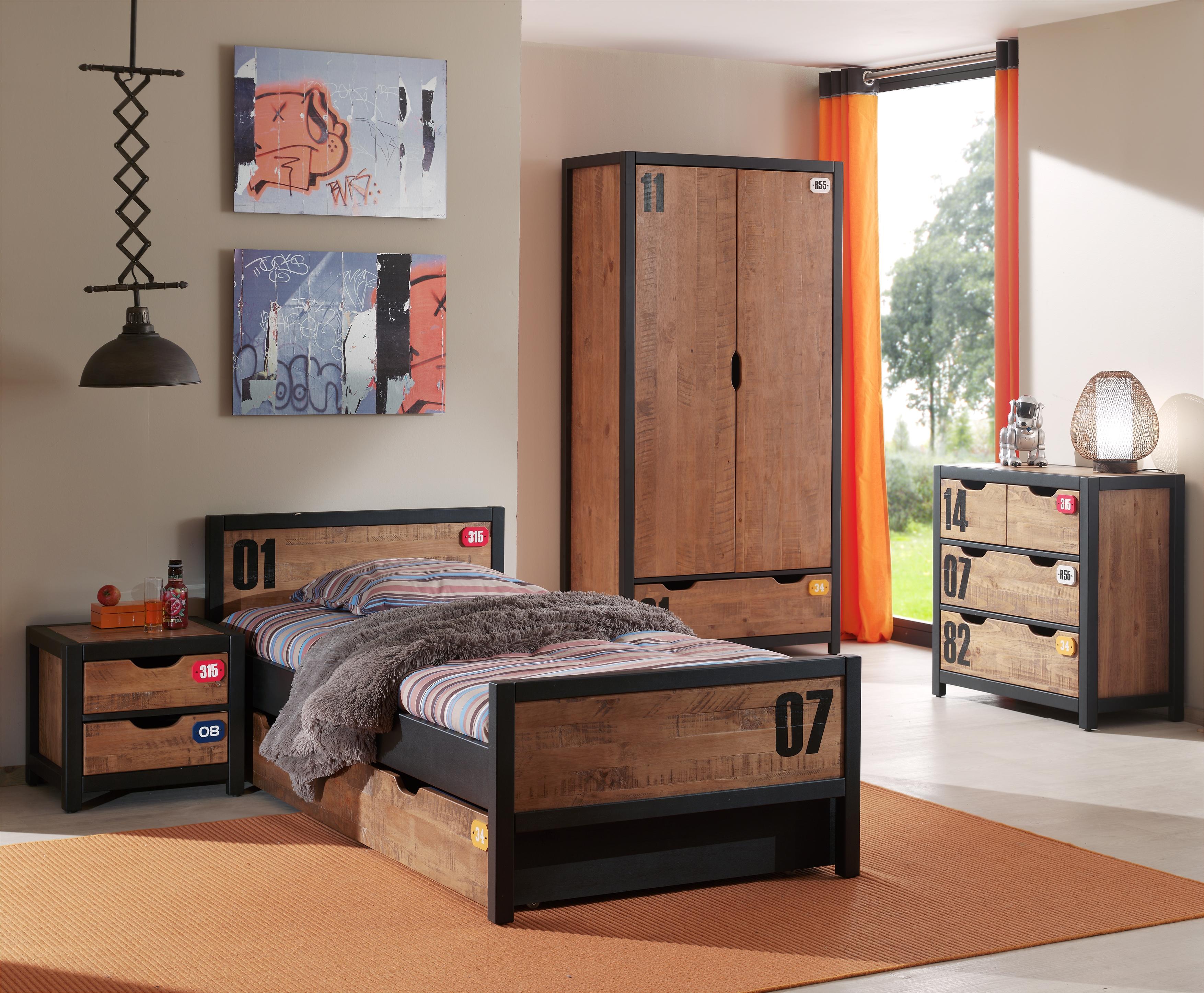 Jugendzimmer-Set Alex 5-teilig in Kiefer aus Massivholz