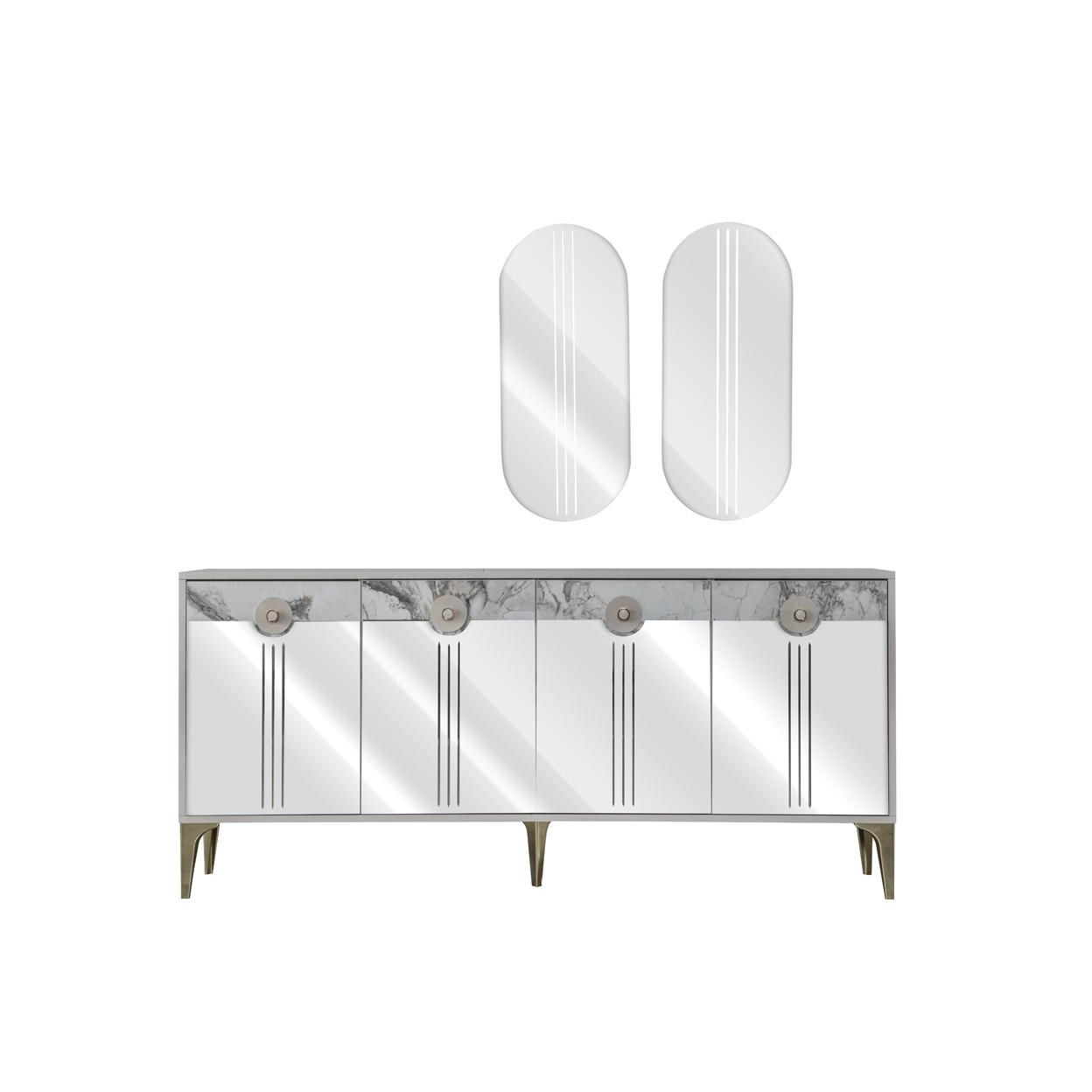 Weltew Sideboard mit Wandspiegel Camlica Beige