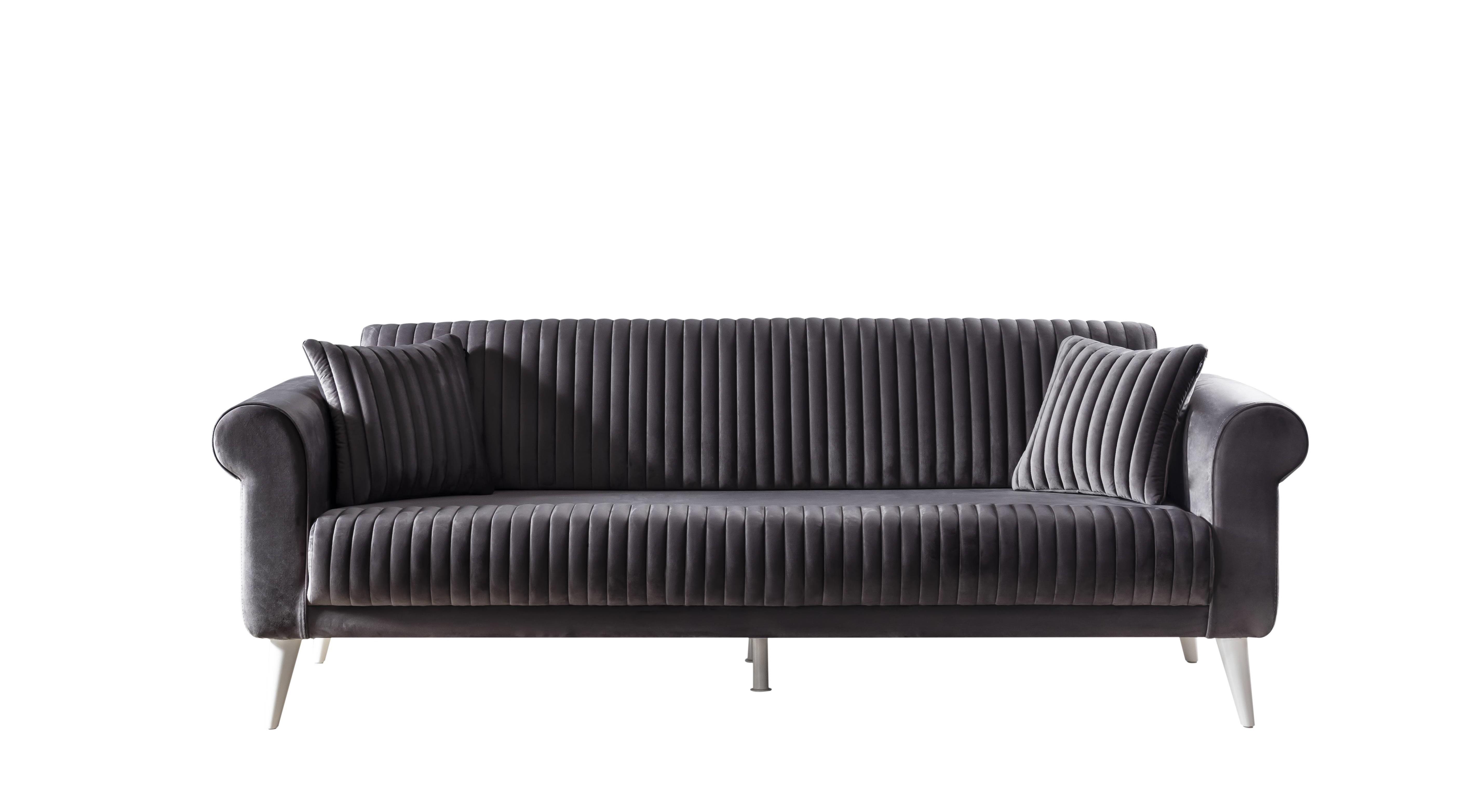 Weltew Sofa mit Schlaffunktion 3-Sitzer Gino Anthrazit