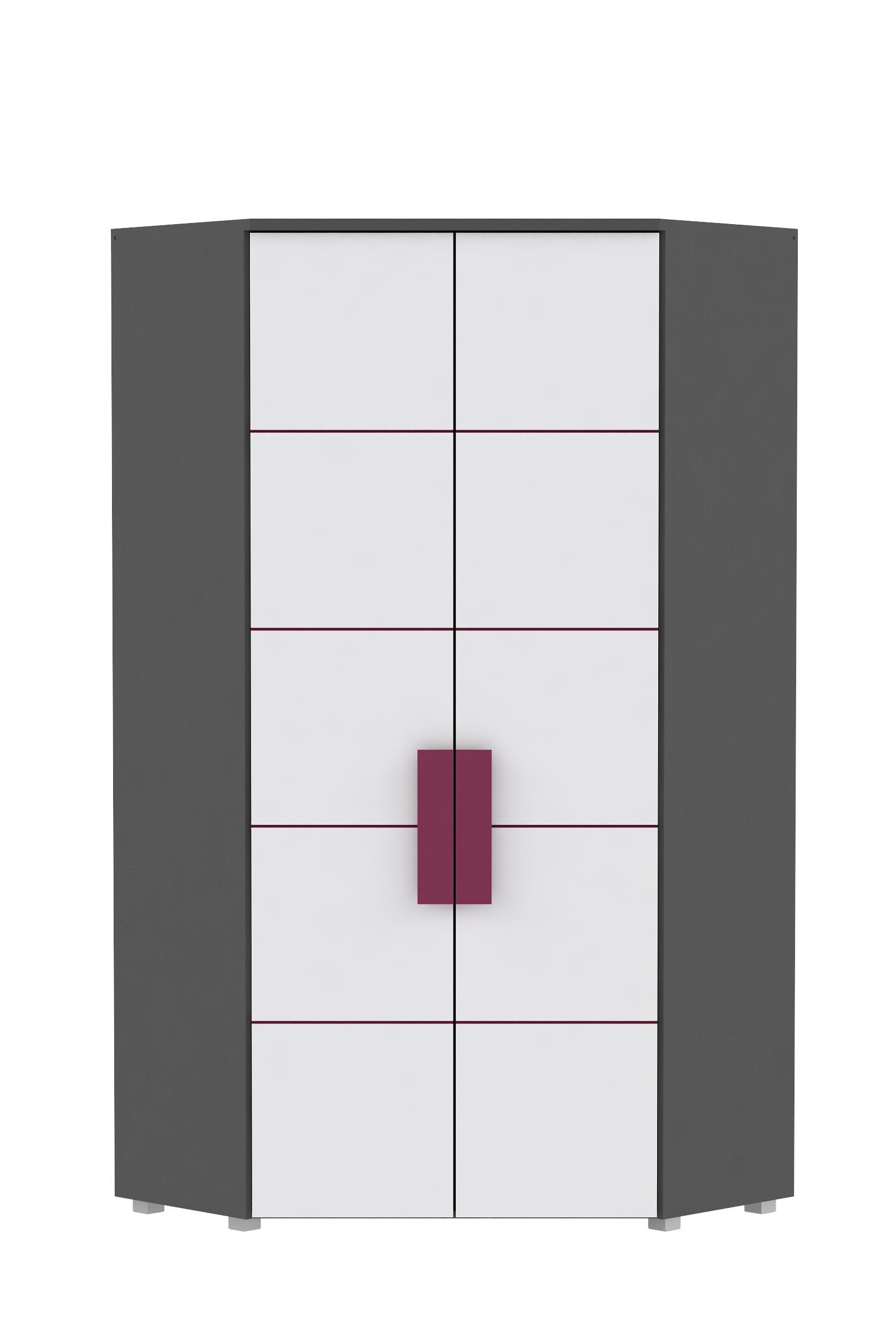 Eckkleiderschrank in Grau Weiß Trinity 2-türig