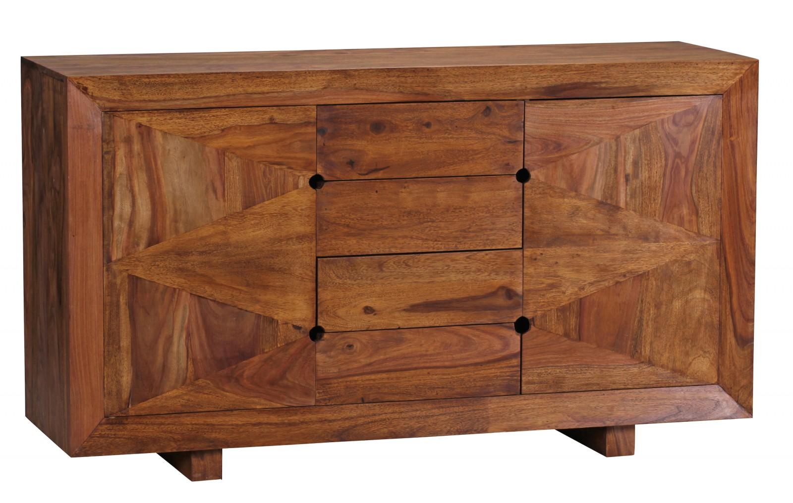 Sheesham Massivholz Sideboard 145 x 45 x 82 cm 2 Türen 4 Schubladen
