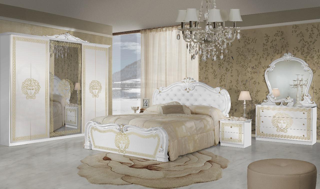 Schlafzimmer Kollektion Vilma 6-trg Schrank Weiß/Gold