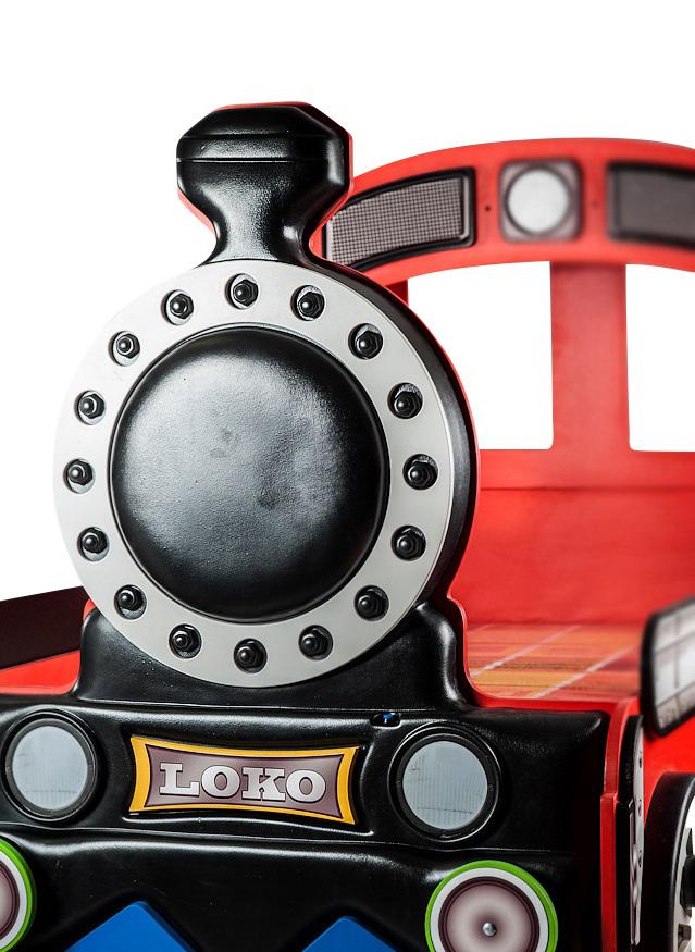 Lokomotive Kinderbett Rot mit Matratze 90x190 & LEDs