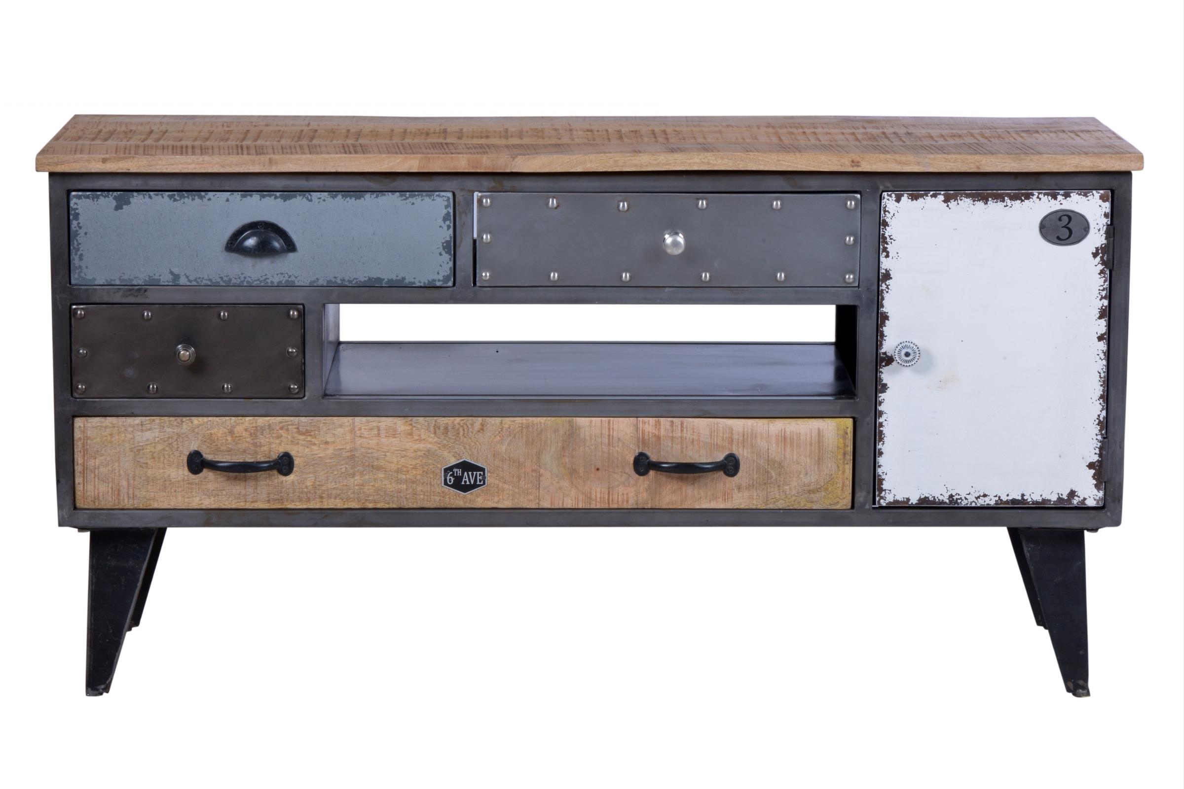 Wohnwand Präter 3-teilig aus Metall und Holz