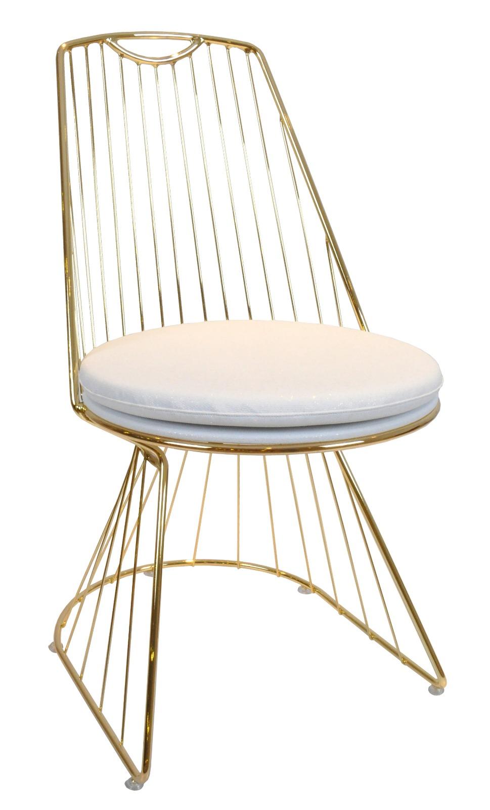 Almila Metallstuhl goldfarben Elegant White