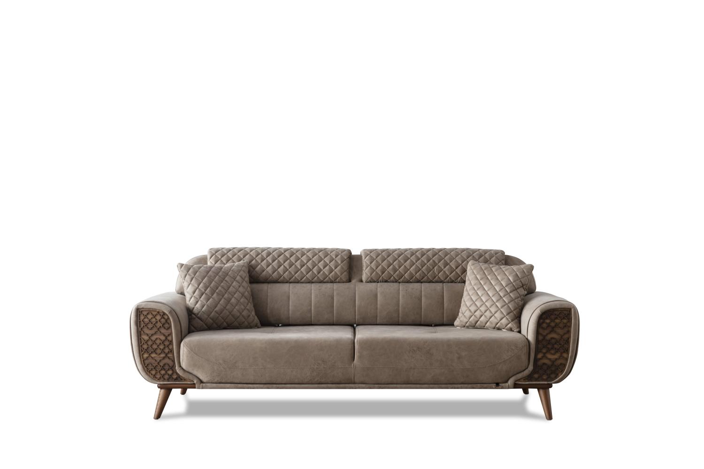 Weltew Sofa 2-Sitzer mit Schlaffunktion Vega Beige